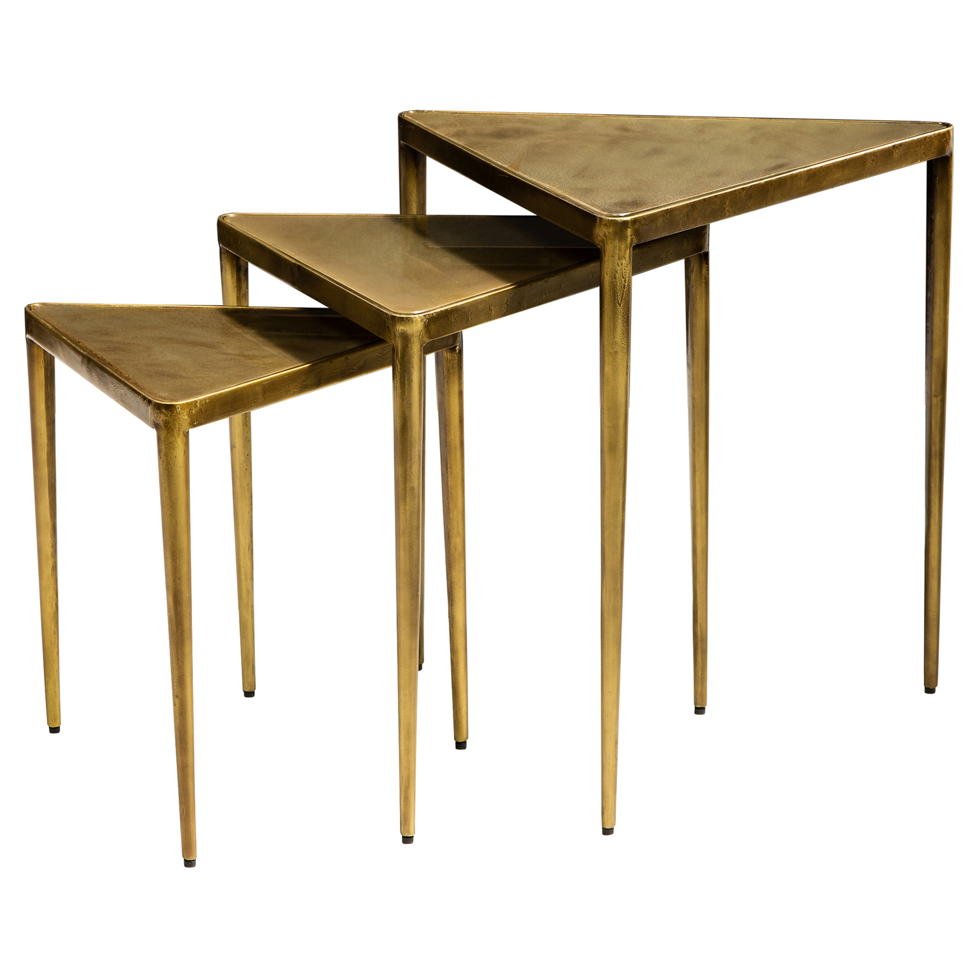 Ciri Global Antique Brass Triangle Nesting Tables - Set of 3