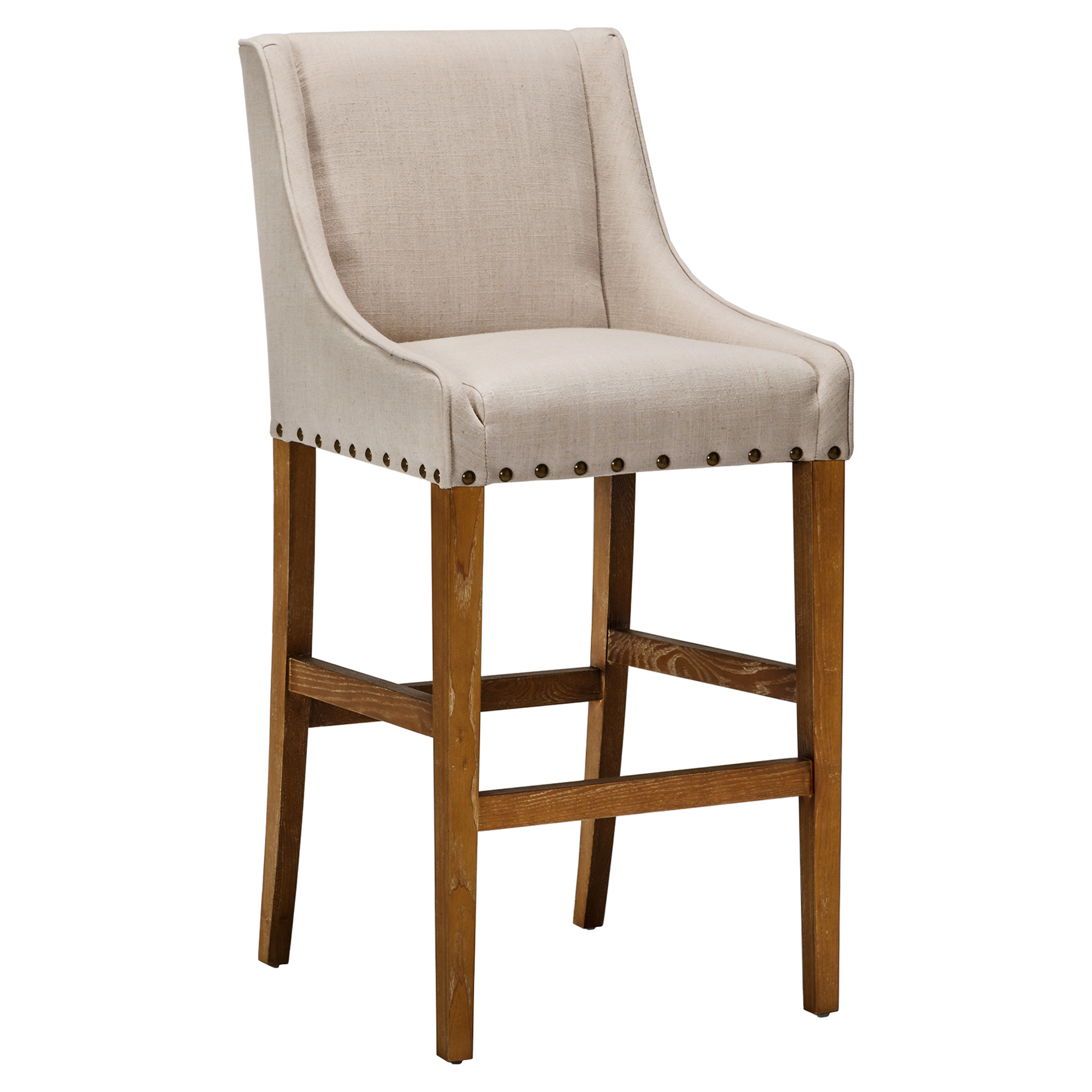 Wells Lodge Linen Rustic Brown Barstool