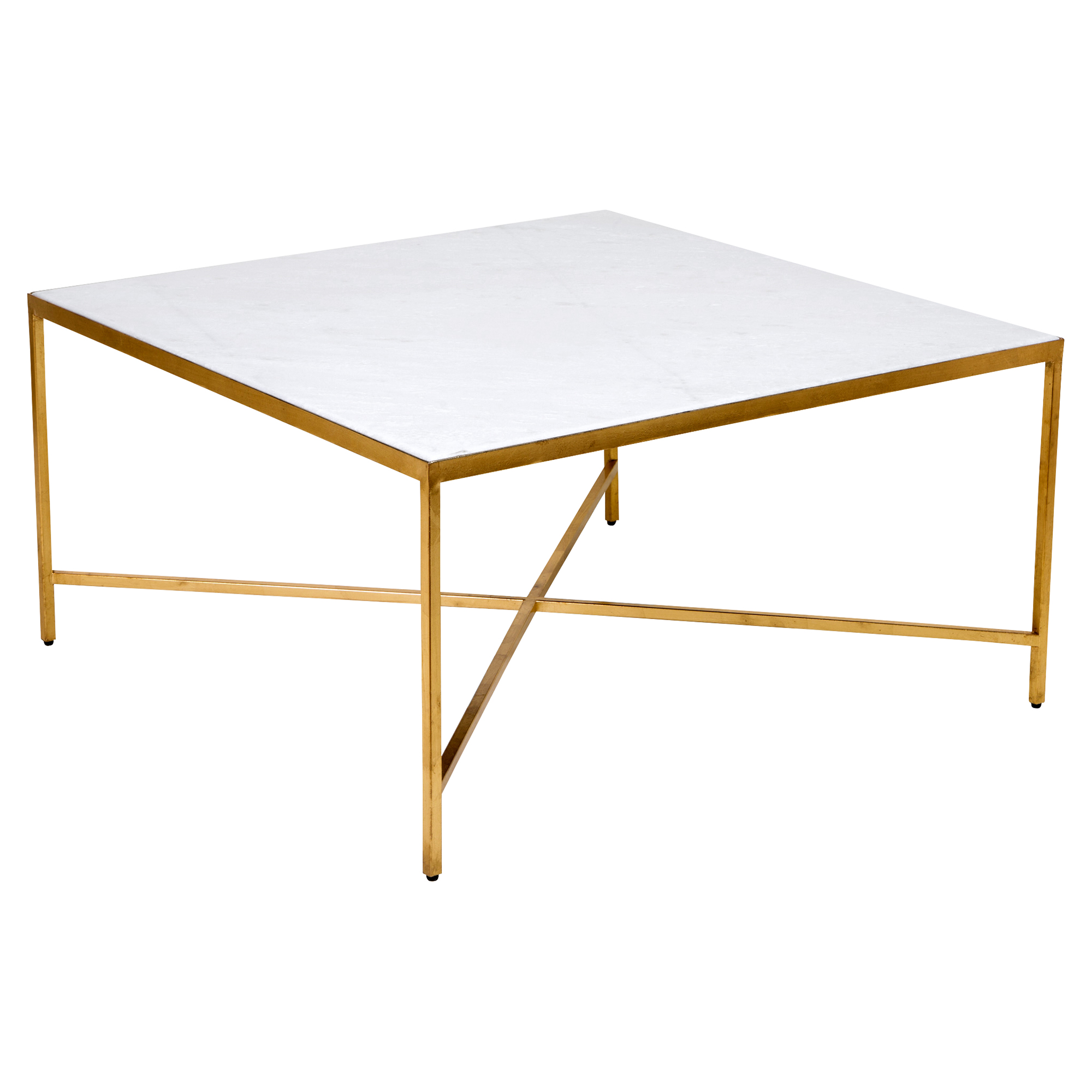 Austie Regency Gold Leaf Square Marble Coffee Table