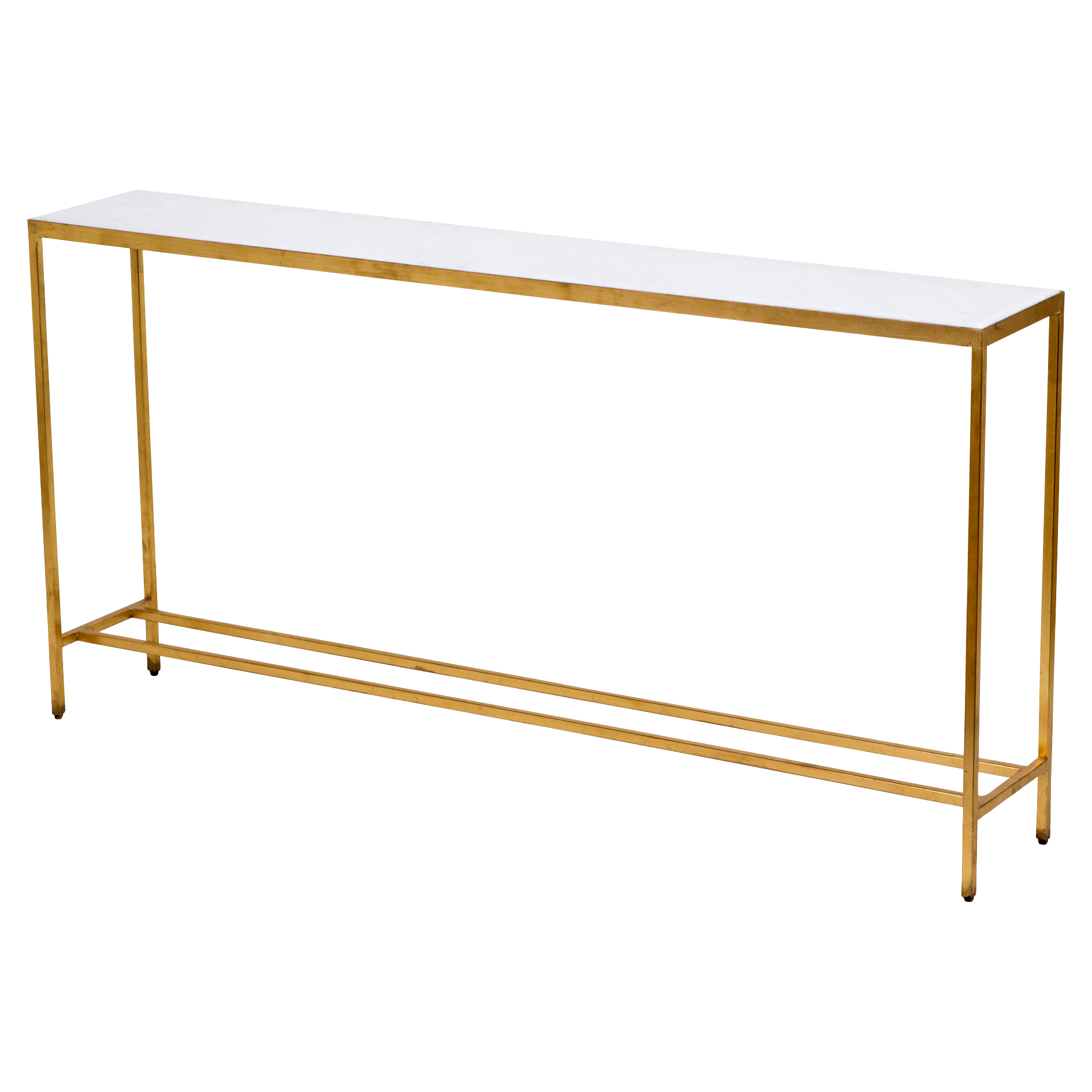 Austie Regency Gold Leaf White Marble Console Table