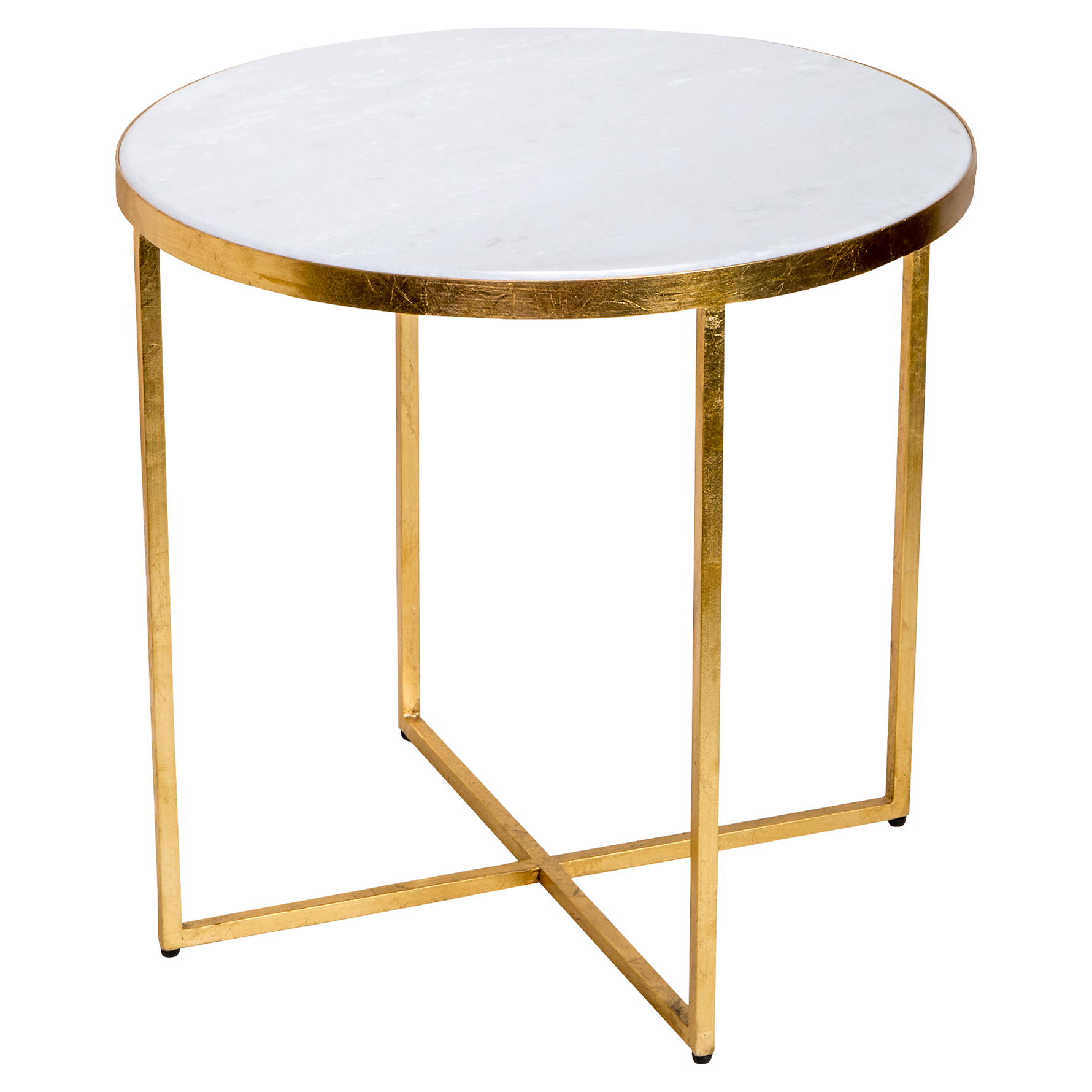 Edie Gold Leaf Cross Frame Marble End Table