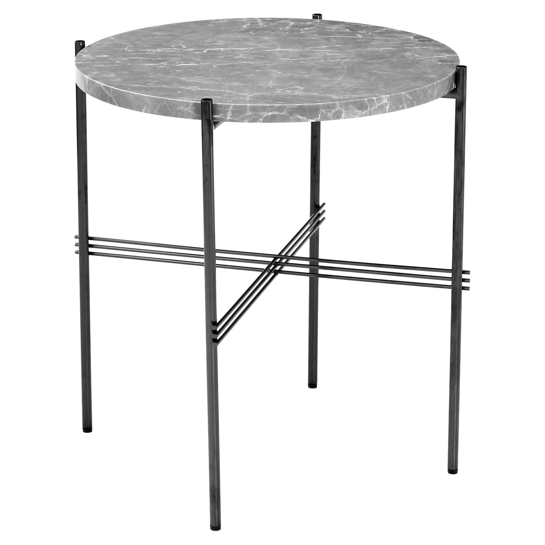 Manuk Loft Gunmetal Grey Steel Marble End Table