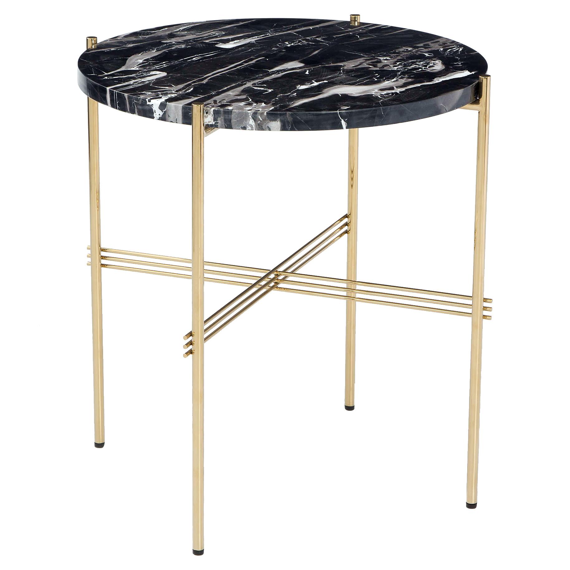 Manuk Regency Brass Black Marble End Table