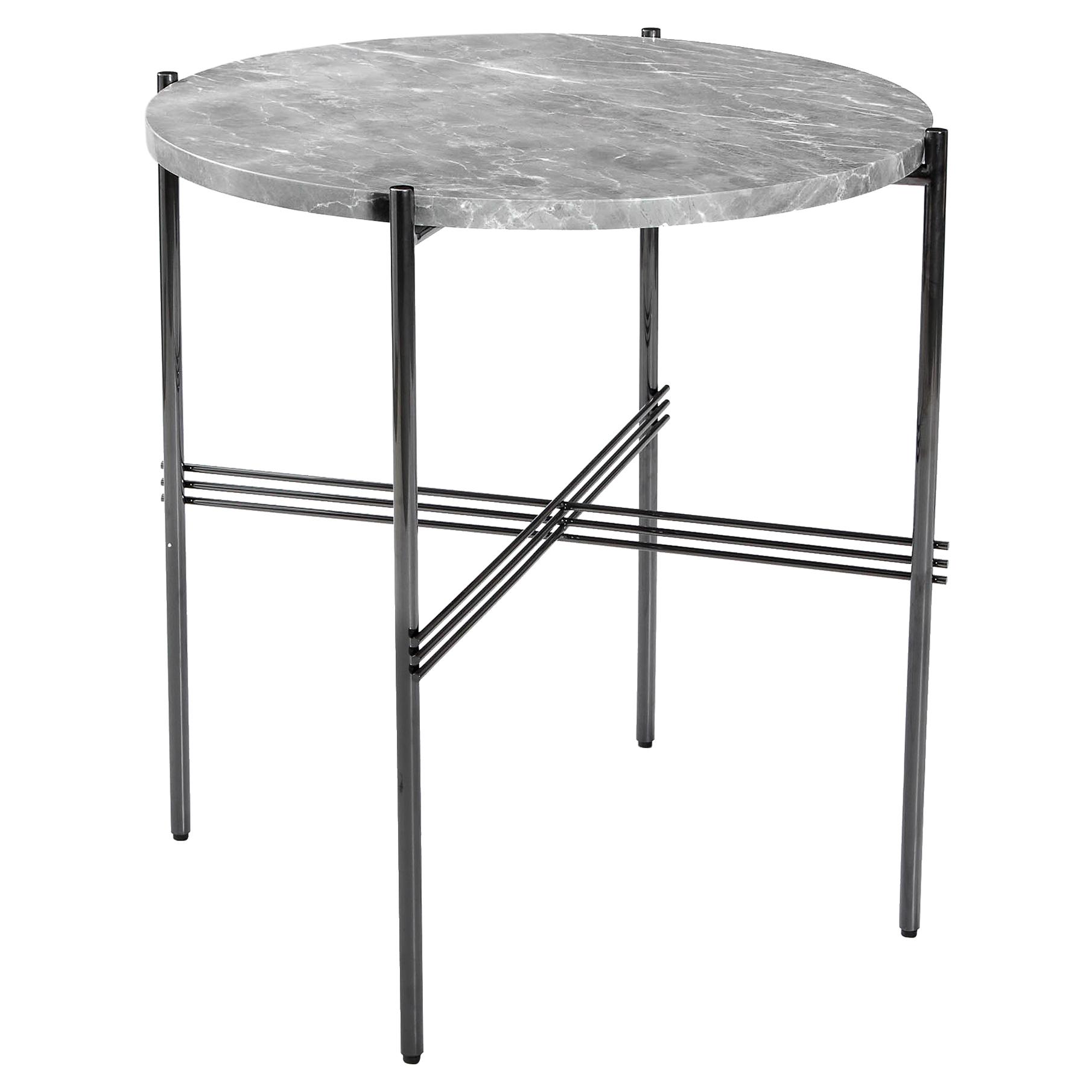 Manuk Loft Gunmetal Grey Steel Marble Bistro Table