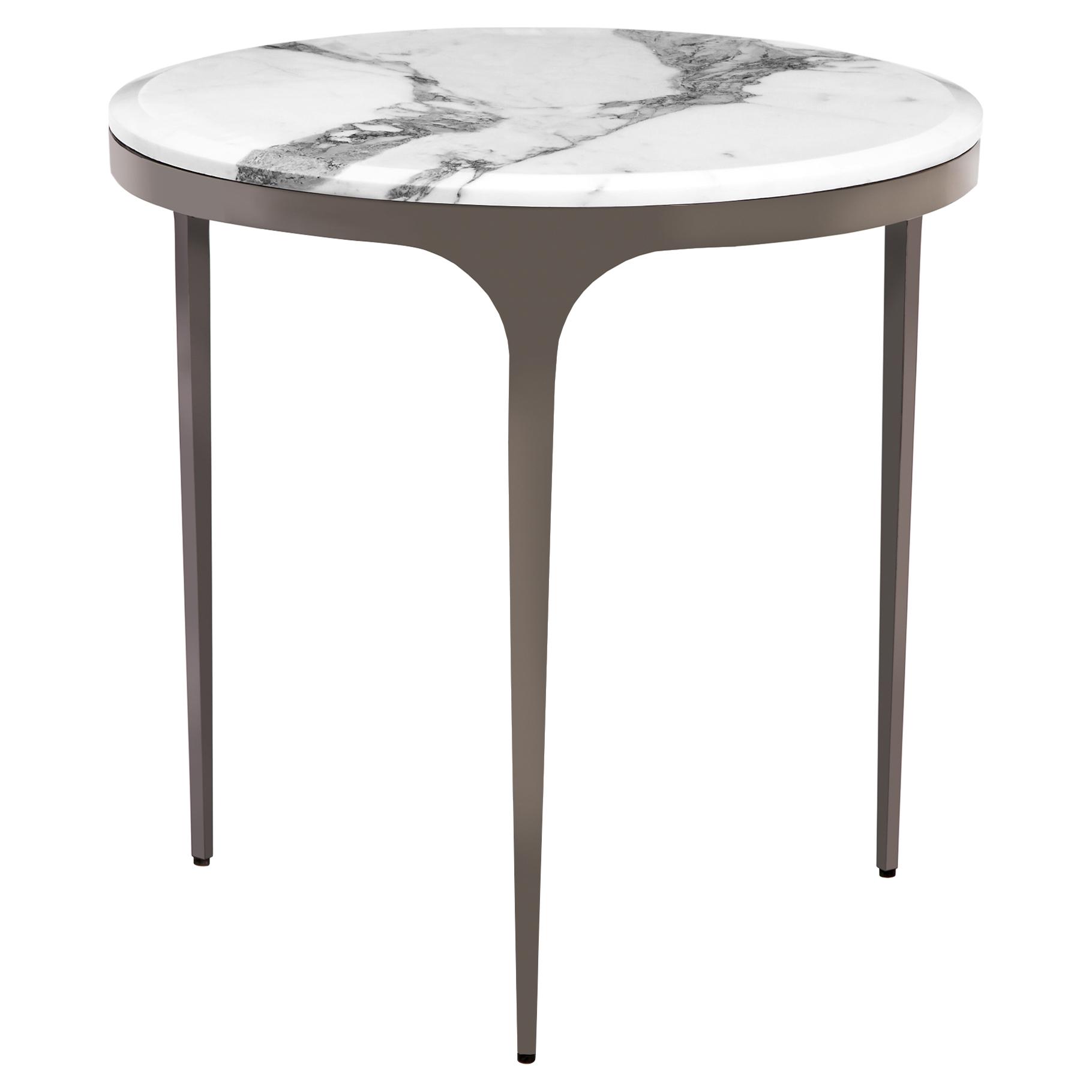 Eda Gunmetal White Marble Round End Table
