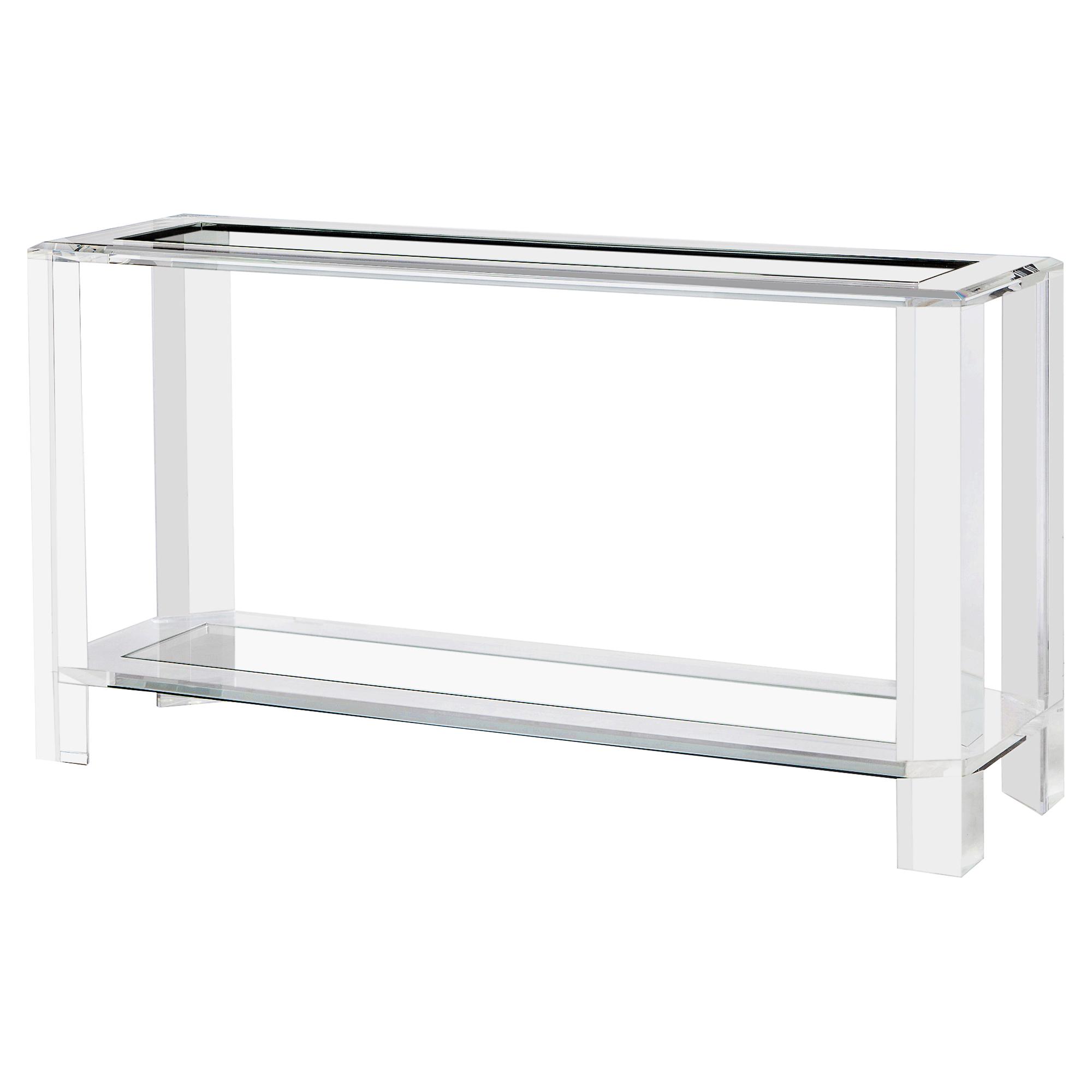 Ryan Modern Glass Acrylic Block Console Table