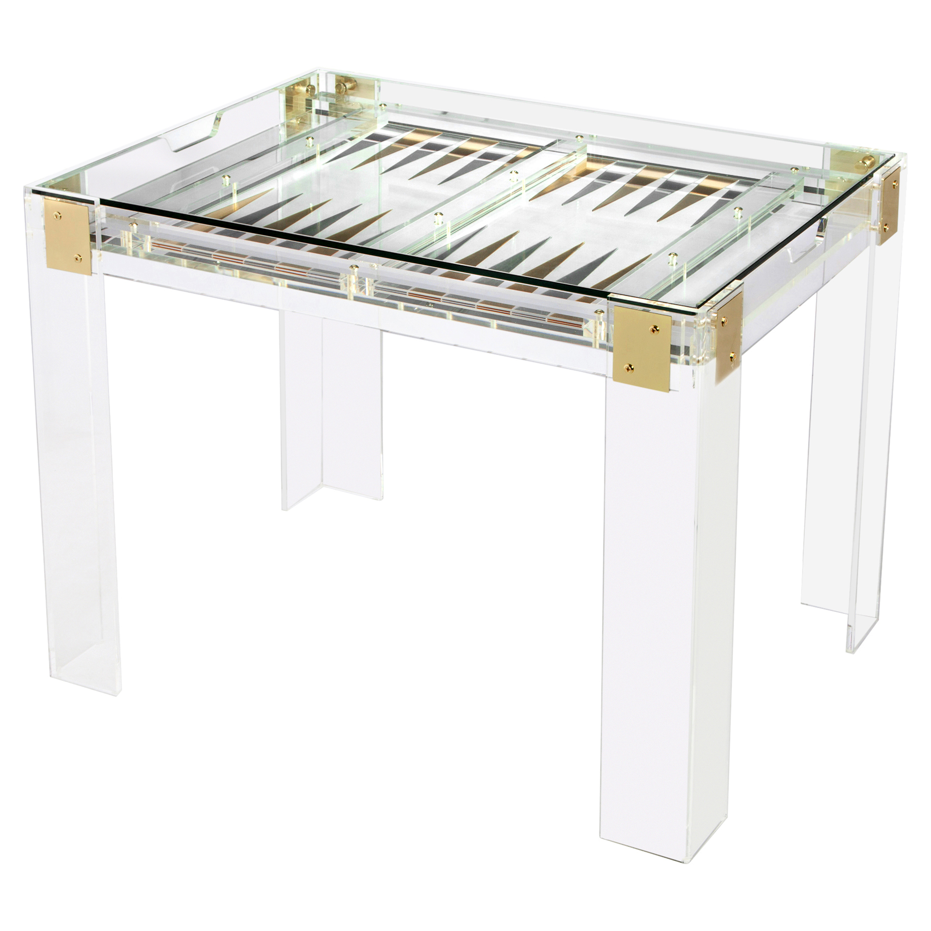 Colin Modern Acrylic Brass Hinge Backgammon Table
