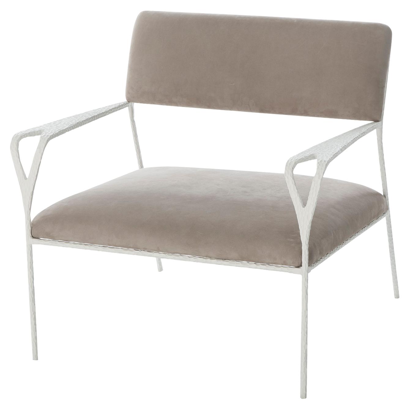 Breeze Modern Soft Grey Textured White Metal Armchair