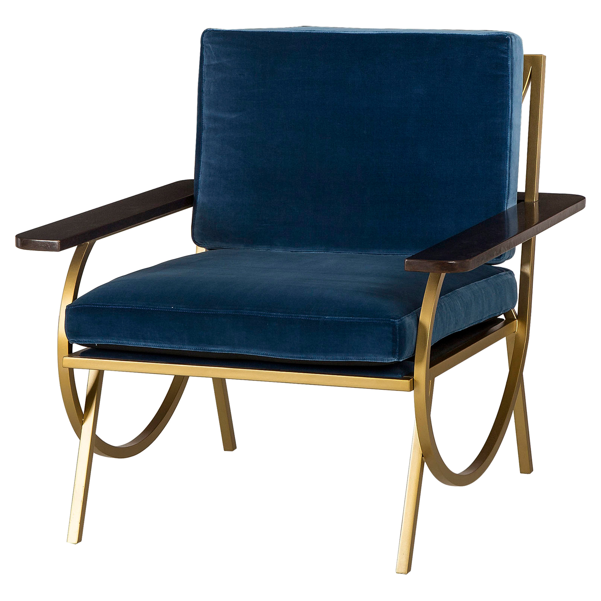 Labelle Regency Curved Gold Blue Velvet Armchair