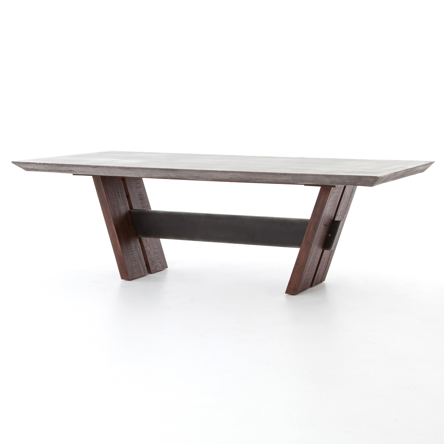 Rocio Industrial Rustic Angled Concrete Dining Table