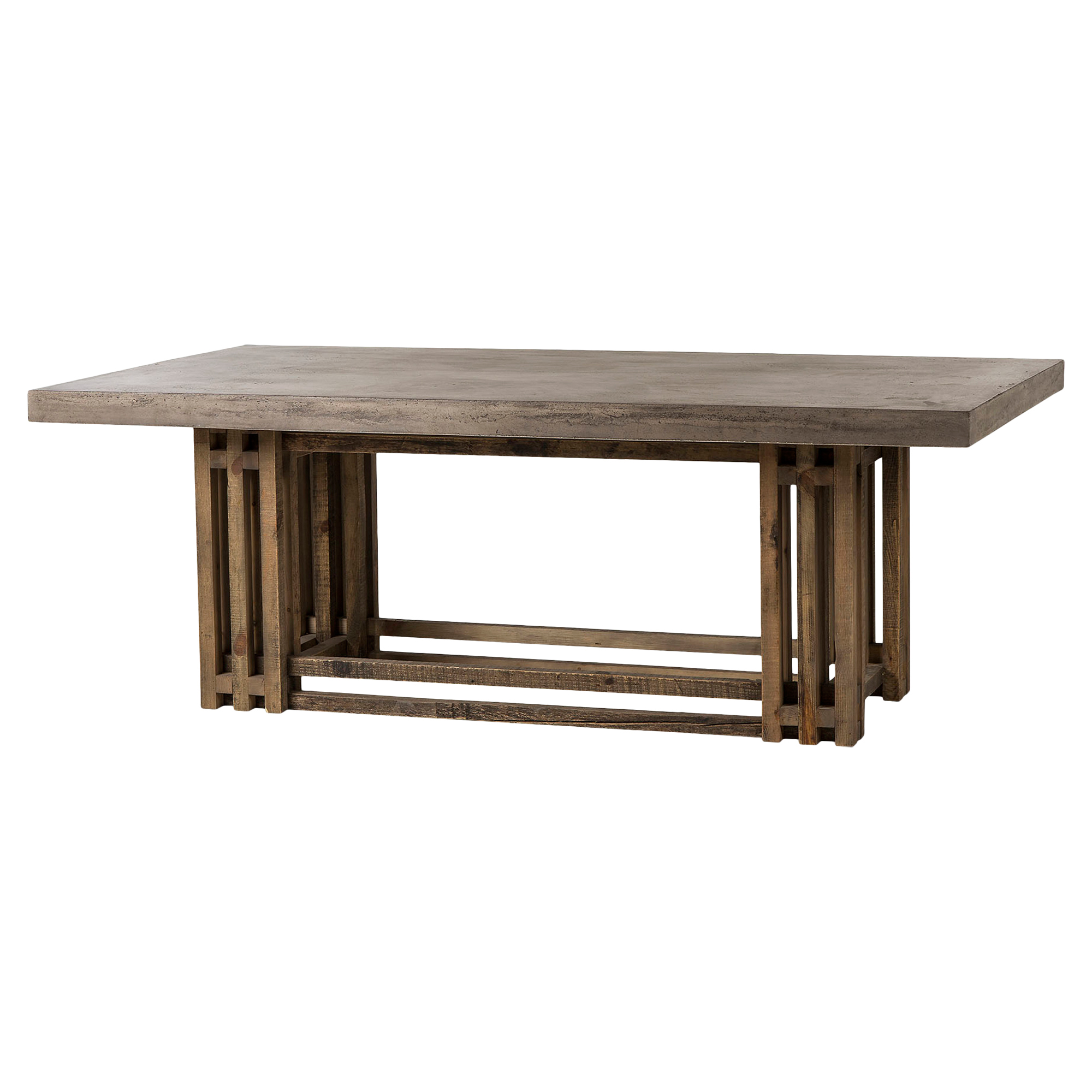 Struan Rustic Industrial Pine Cement Dining Table
