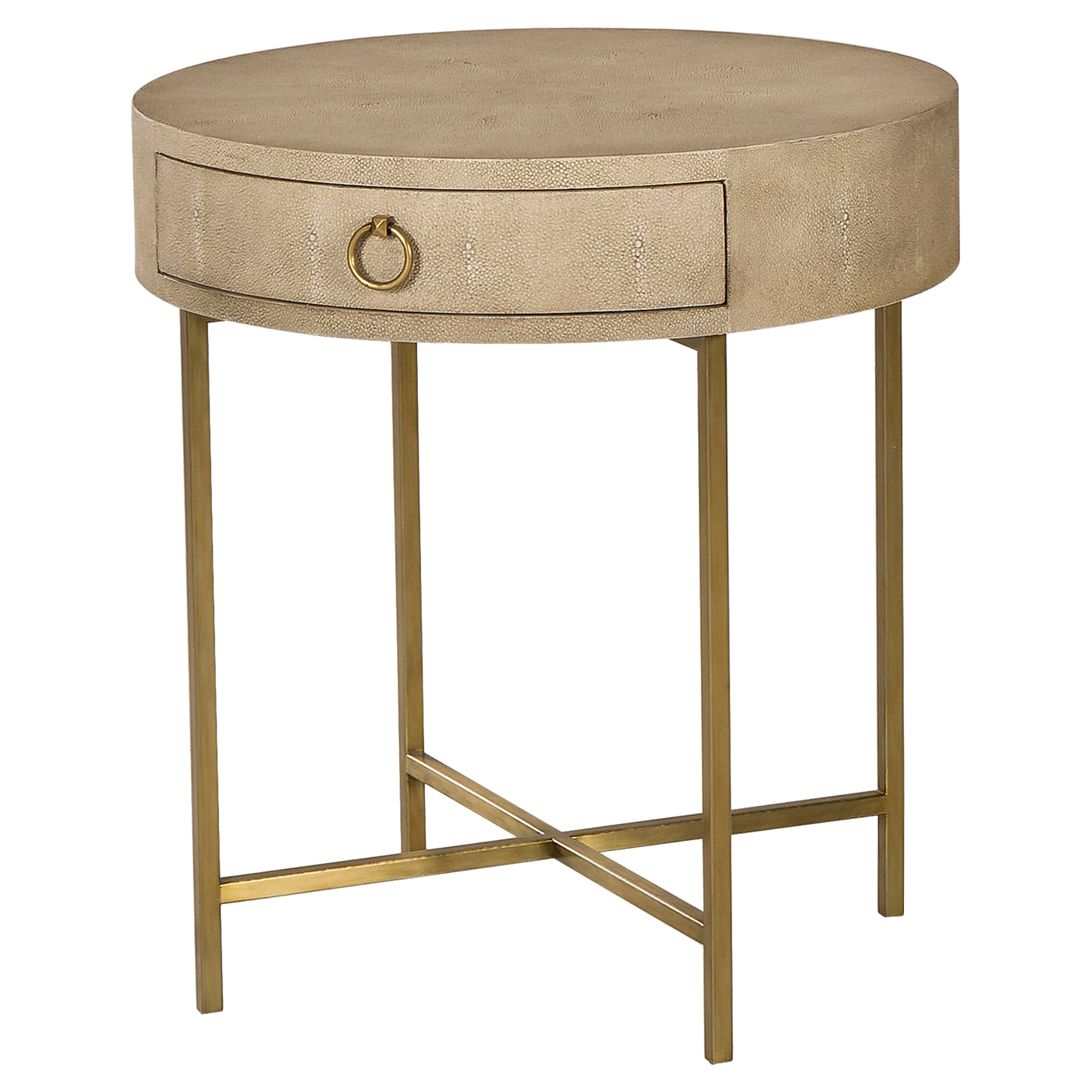 Ianthe Hollywood Linen Shagreen Gold End Table