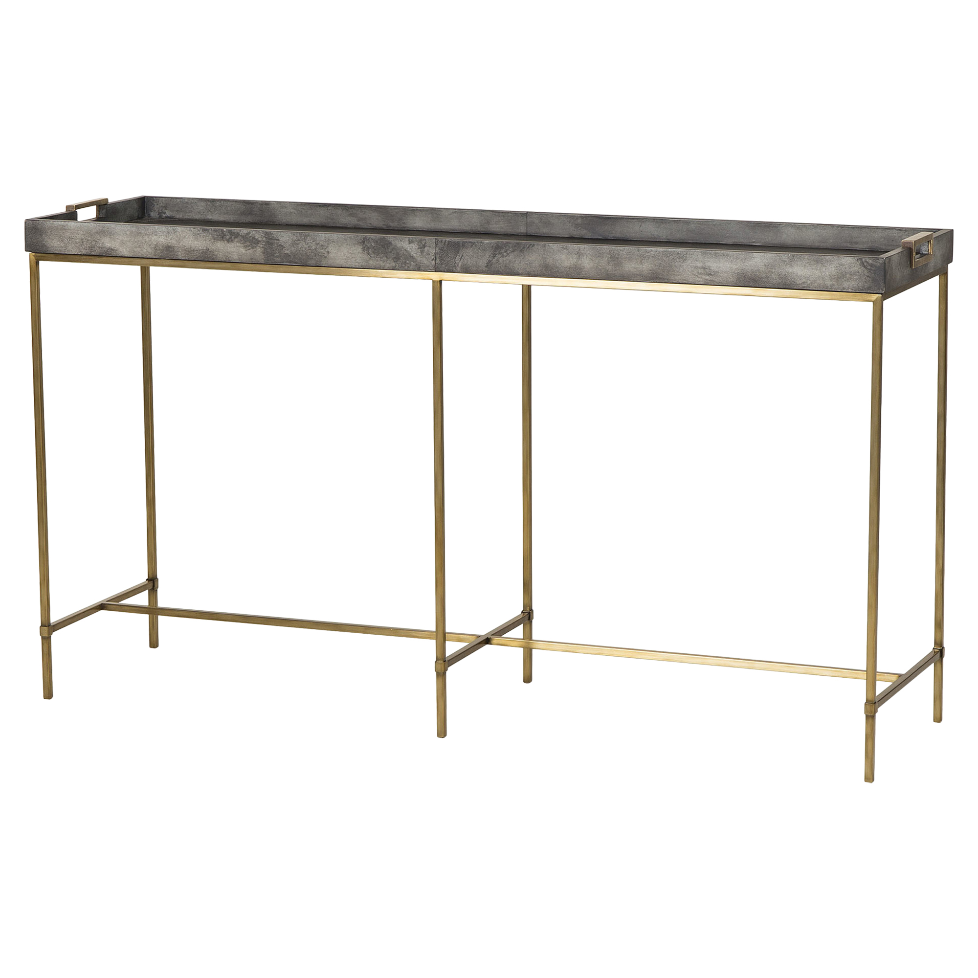 Kerian Hollywood Brass Grey Vellum Tray Console Table