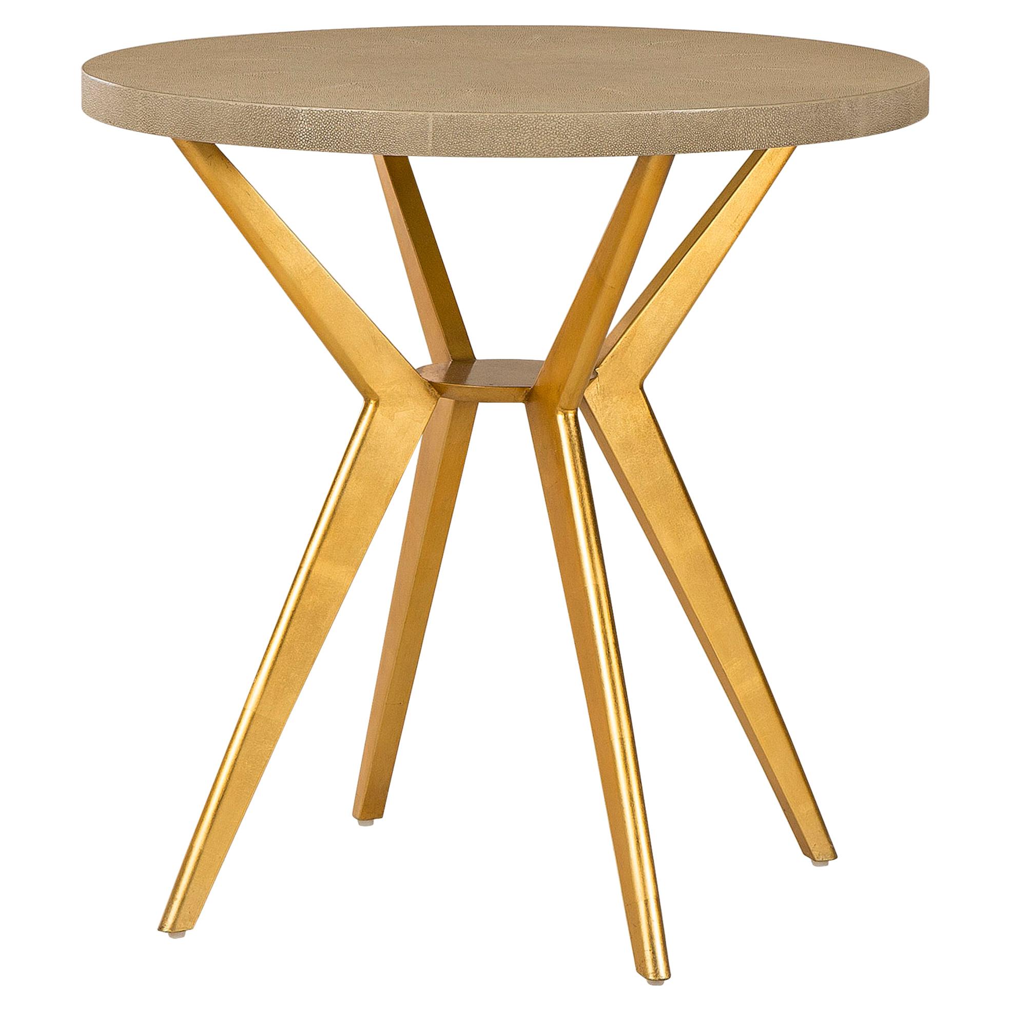 Kiki Regency Retro Cream Shagreen Gold End Table