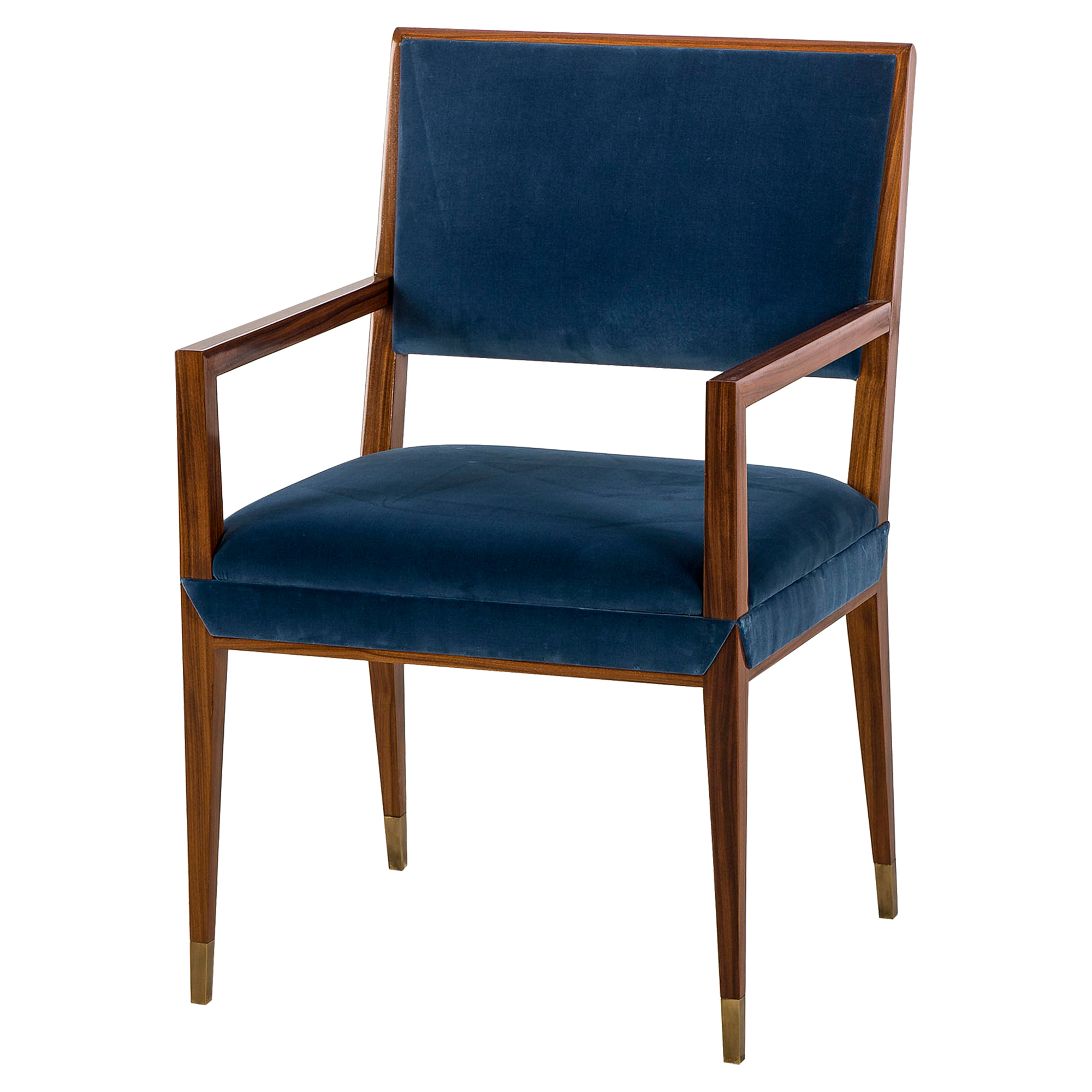 Digby Brass Cap Blue Velvet Dining Armchair - Pair