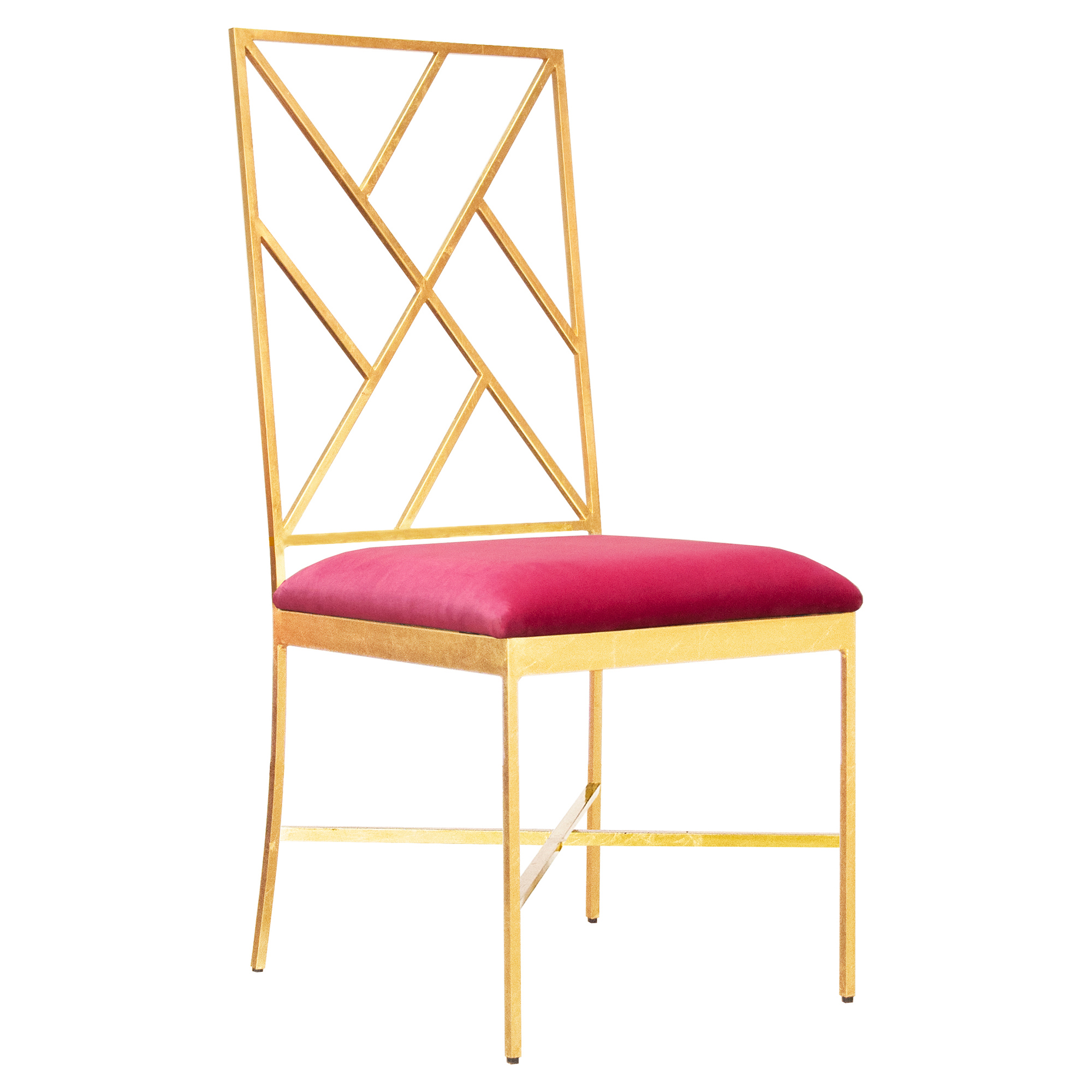 Adrion Gold Leaf Fretwork Pink Velvet Side Chair
