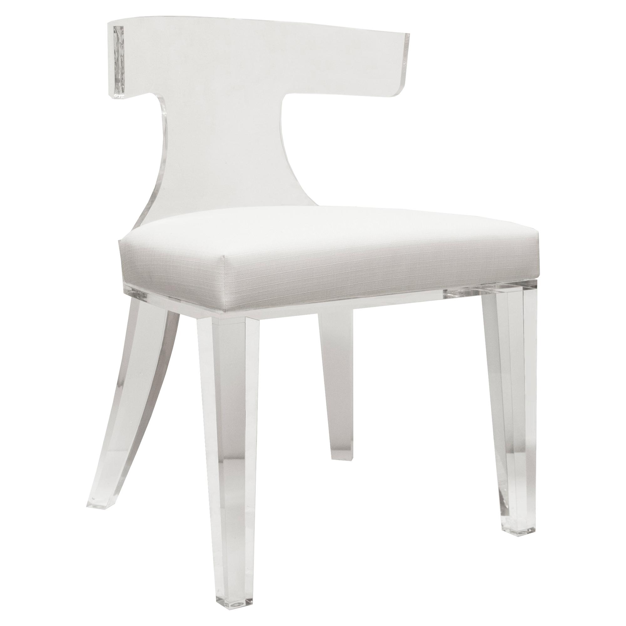 Crius Modern Acrylic White Linen Klismos Chair