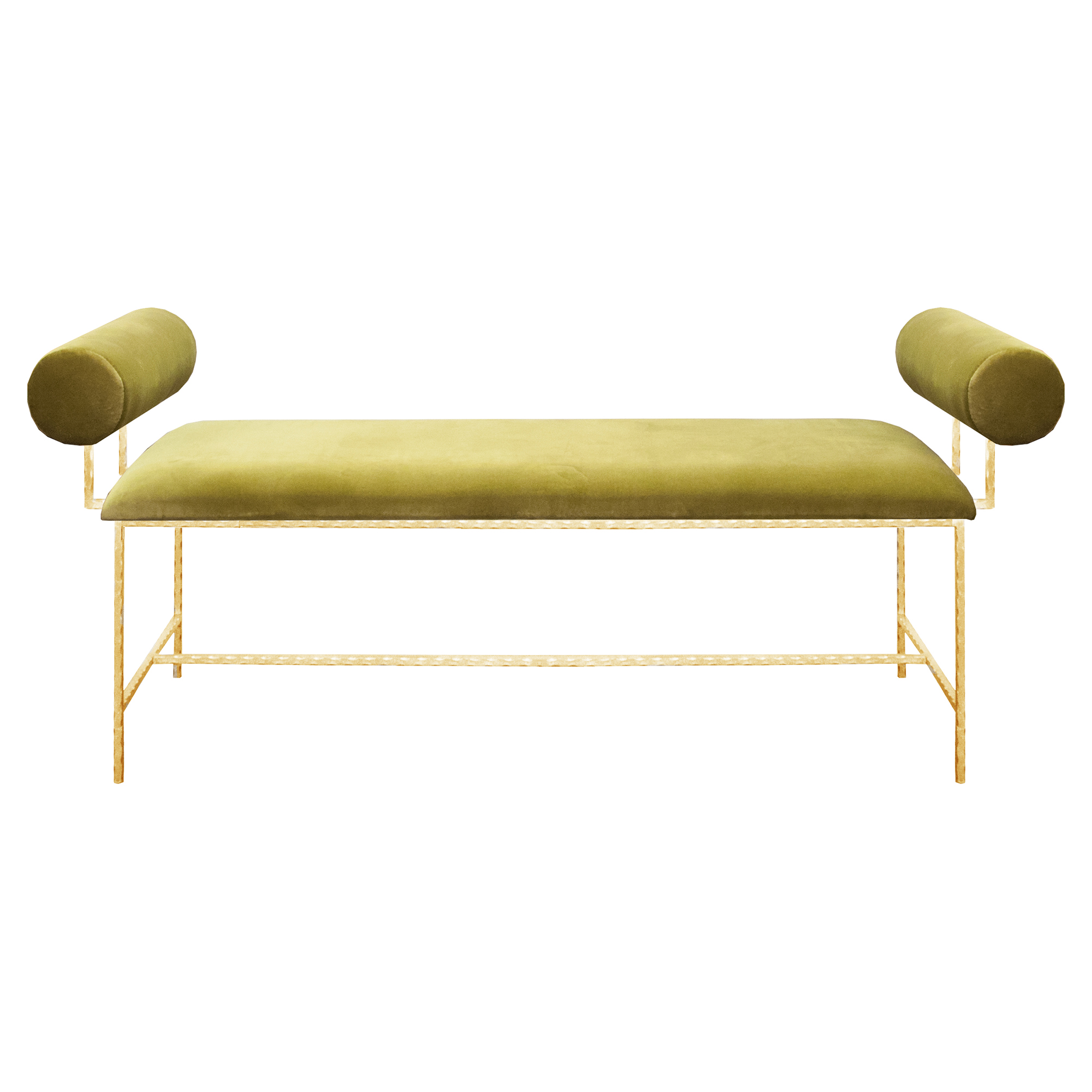 Bilson Modern Bolster Arm Green Velvet Gold Bench