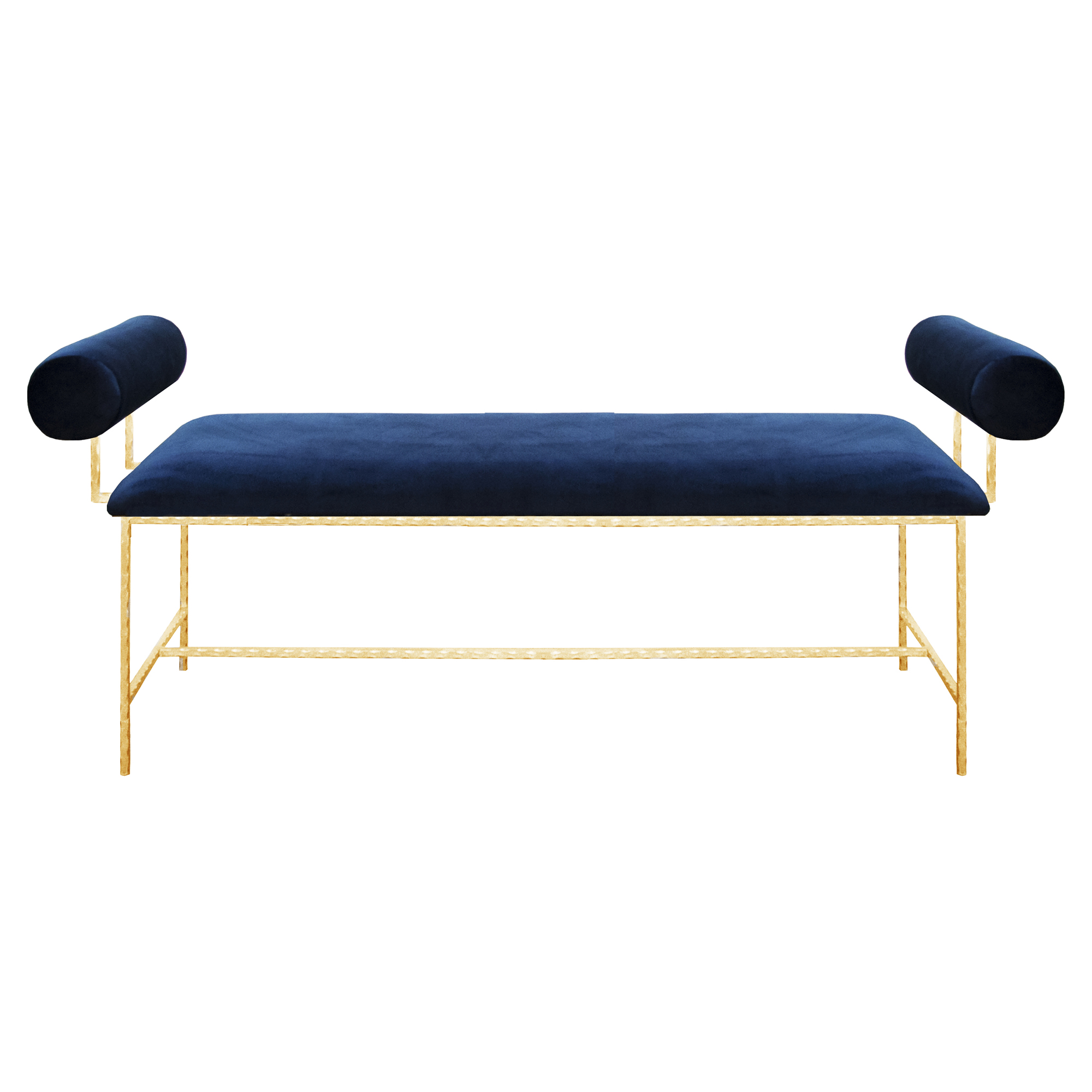 Bilson Modern Bolster Arm Blue Velvet Gold Bench