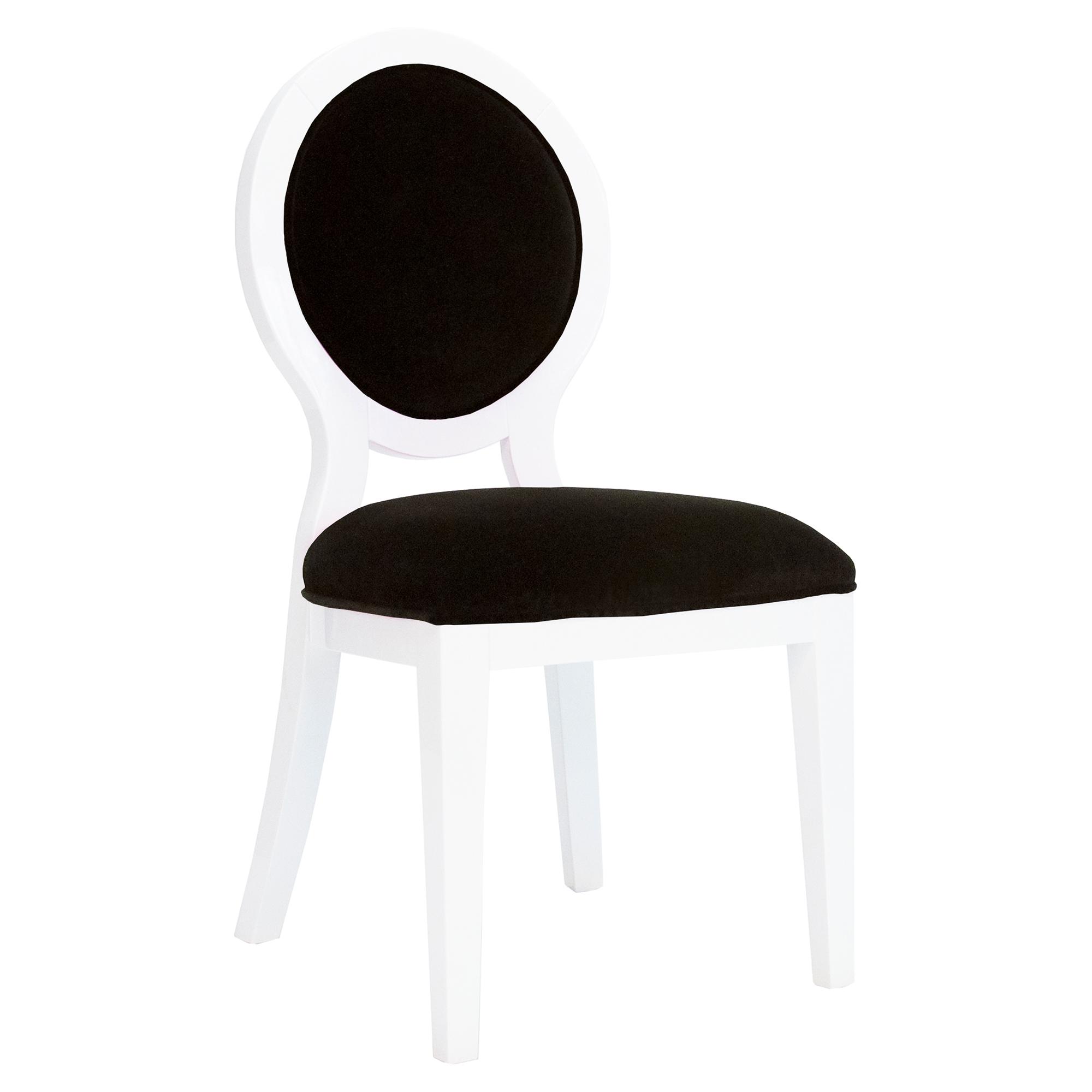 Avril Modern White Lacquer Black Velvet Oval Side Chair