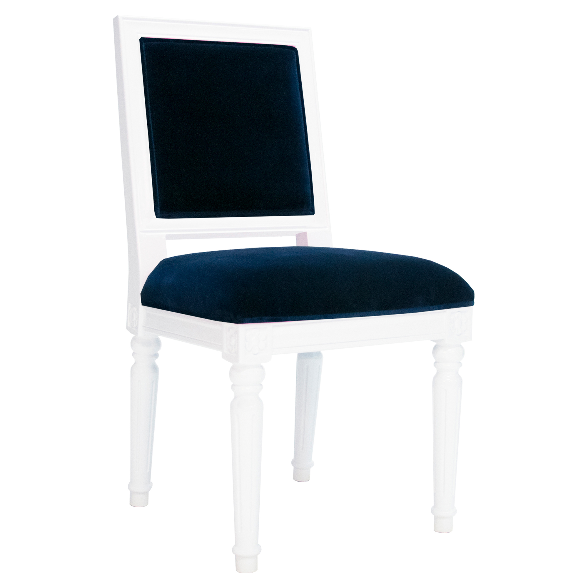 Silana French Modern White Lacquer Navy Velvet Side Chair