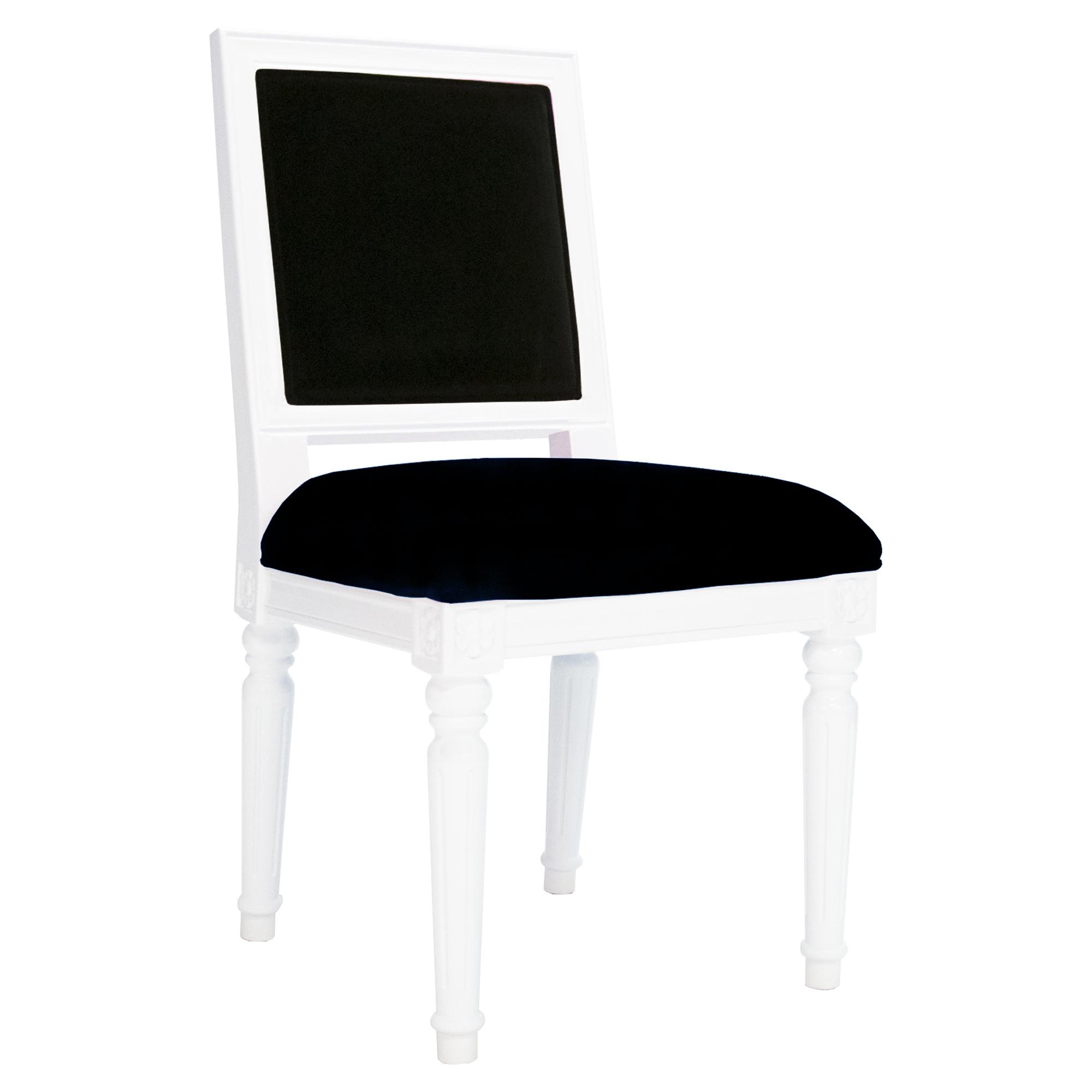 Silana French Modern White Lacquer Black Velvet Side Chair