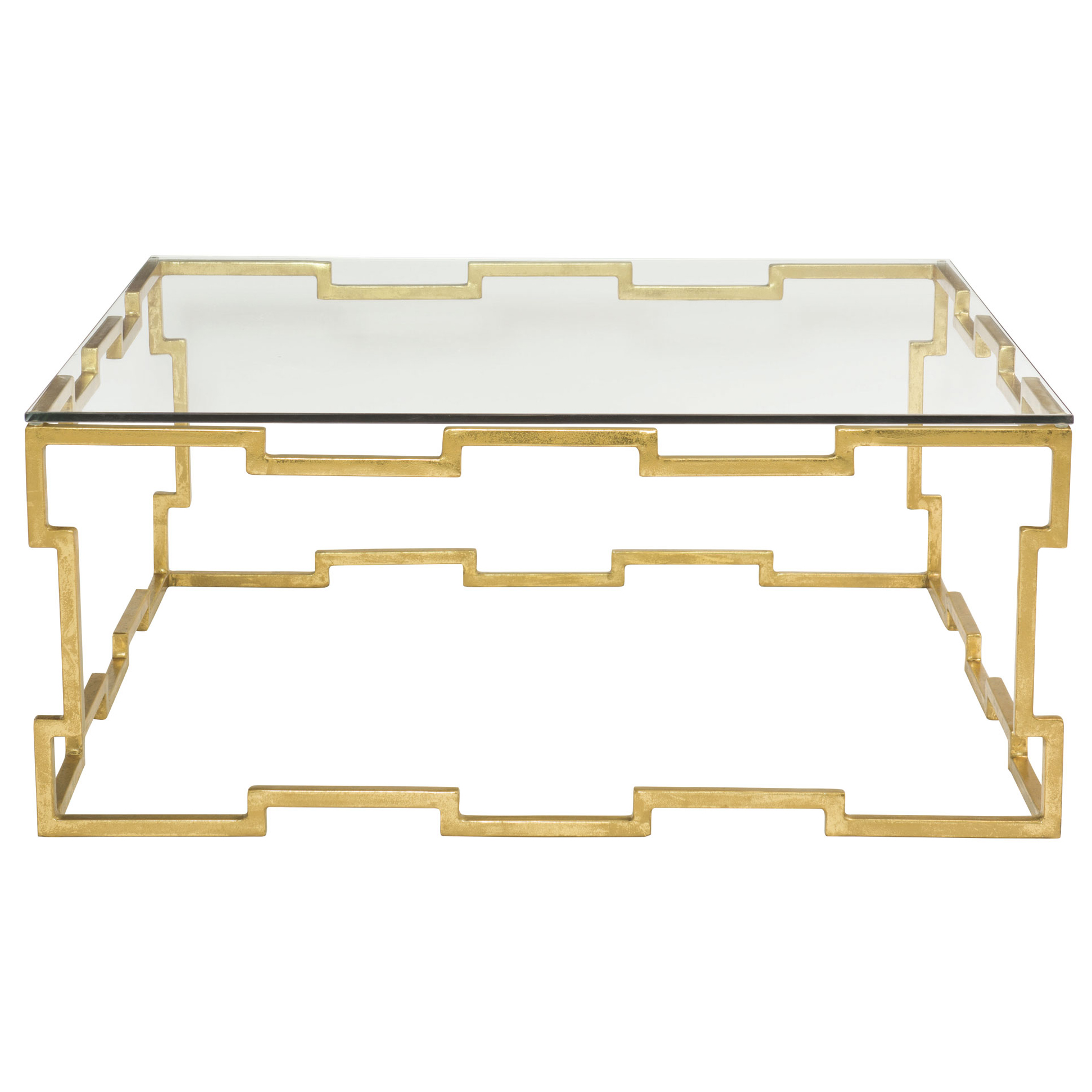 Kya Hollywood Regency Gold Leaf Glass Coffee Table