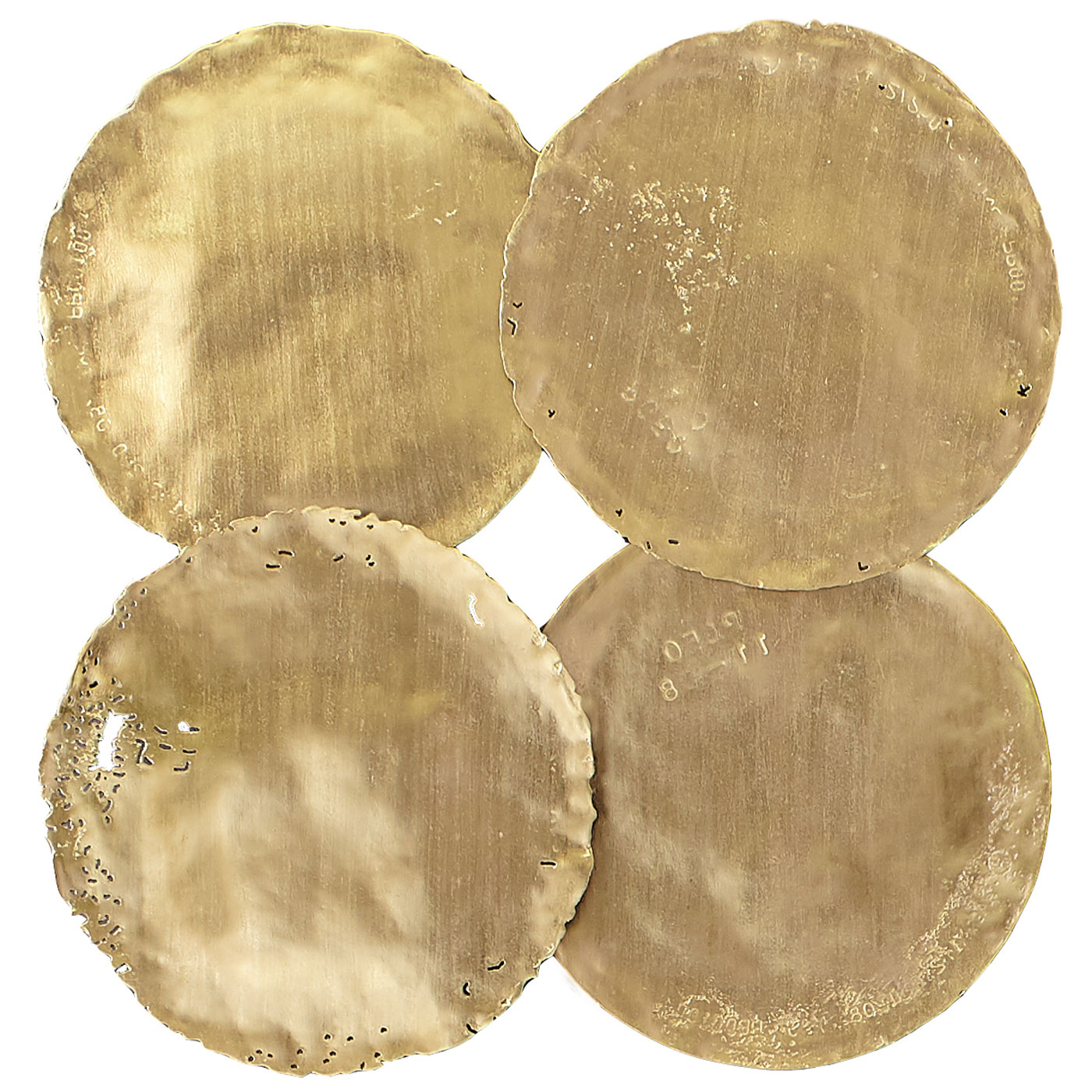 Galvanized Circle Wall TilesSet of 4, Gold Leaf