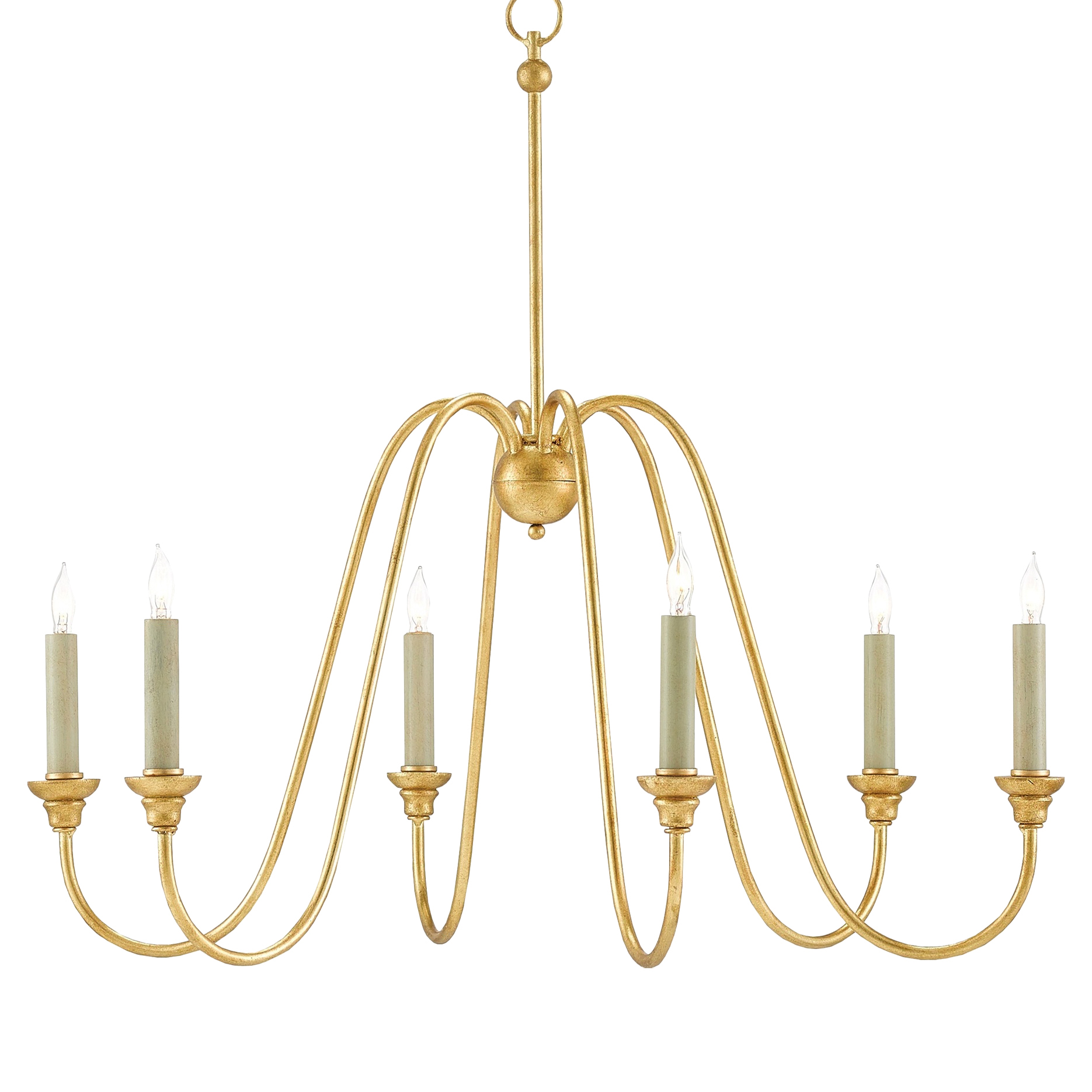 Melisenda Modern Regency Slender Gold Leaf Chandelier