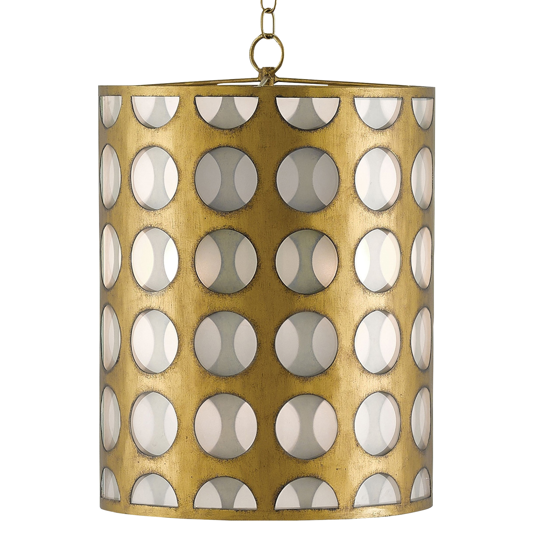 Embry Retro Modern Glass Dot Brass Pendant
