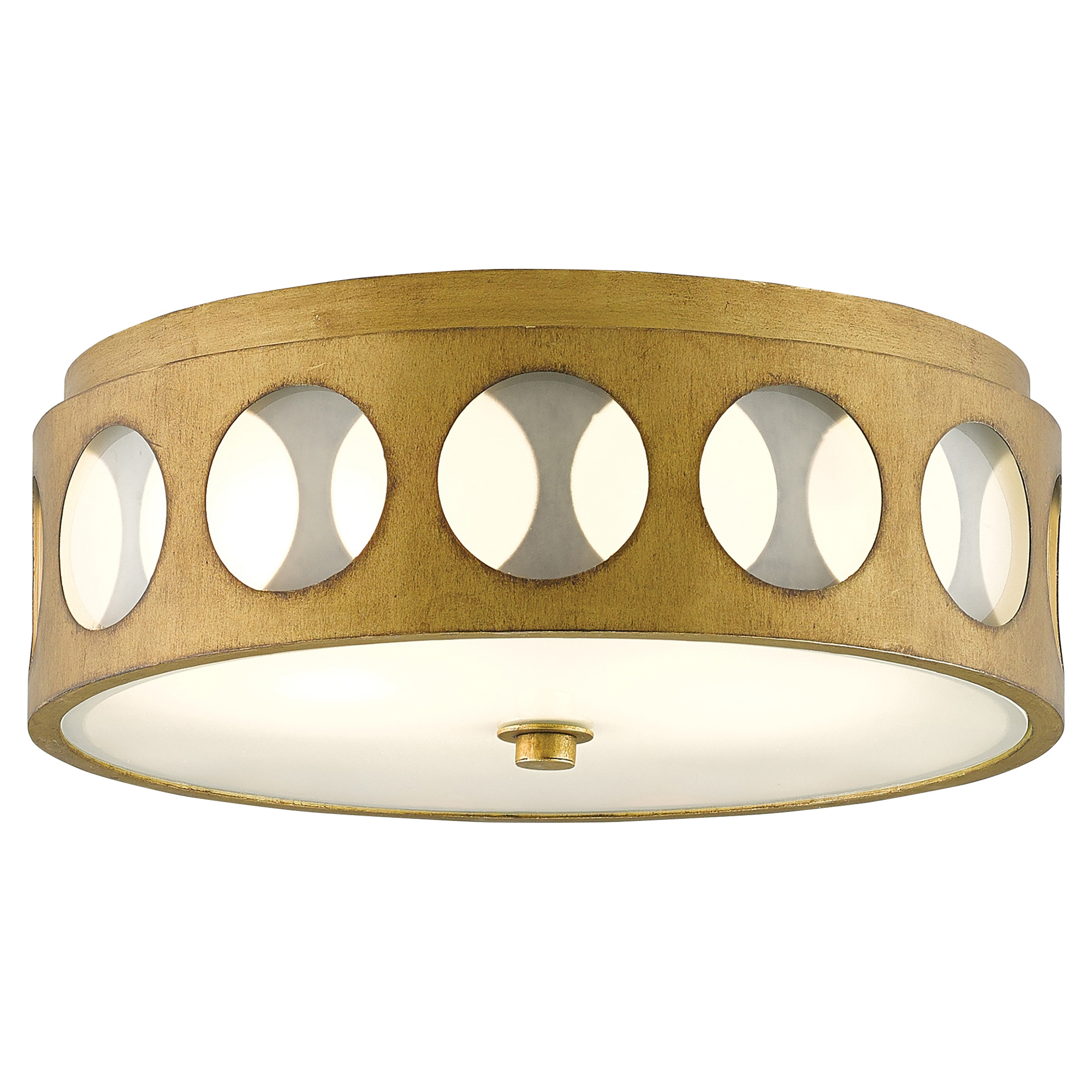 Embry Retro Modern Glass Dot Brass Ceiling Mount