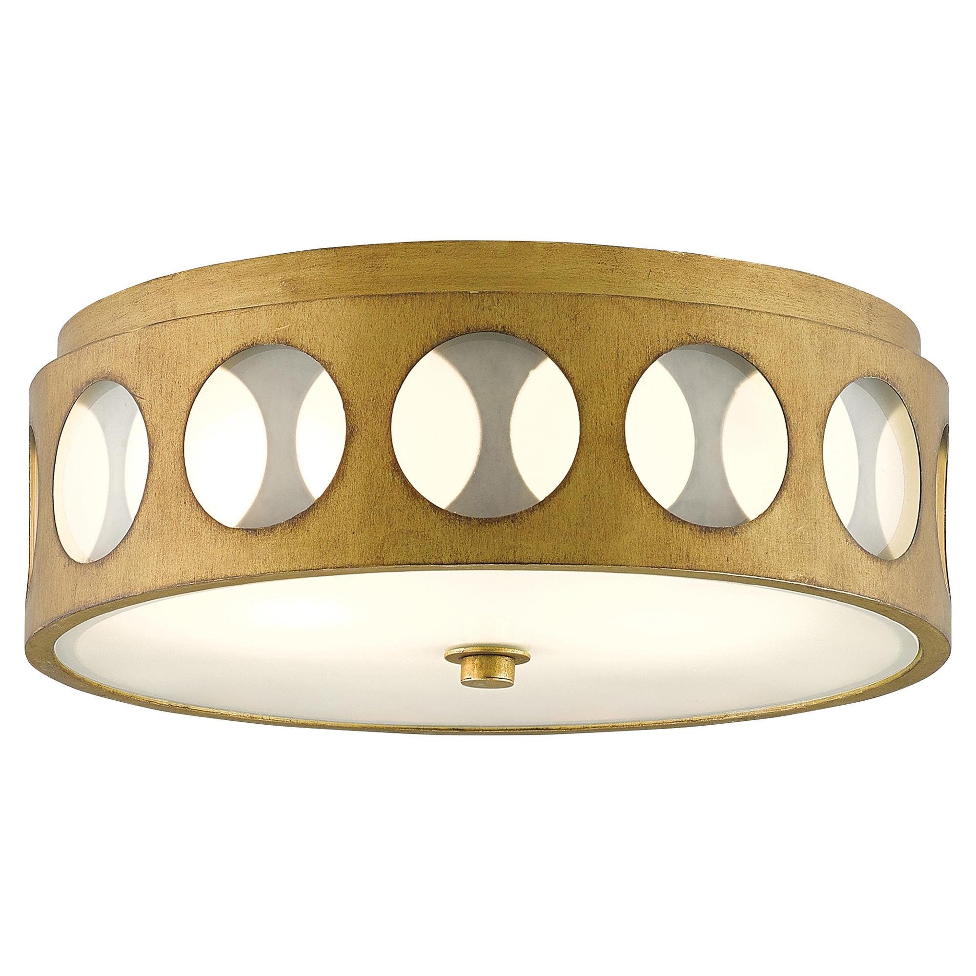 Embry Retro Modern Glass Dot Brass Ceiling Mount