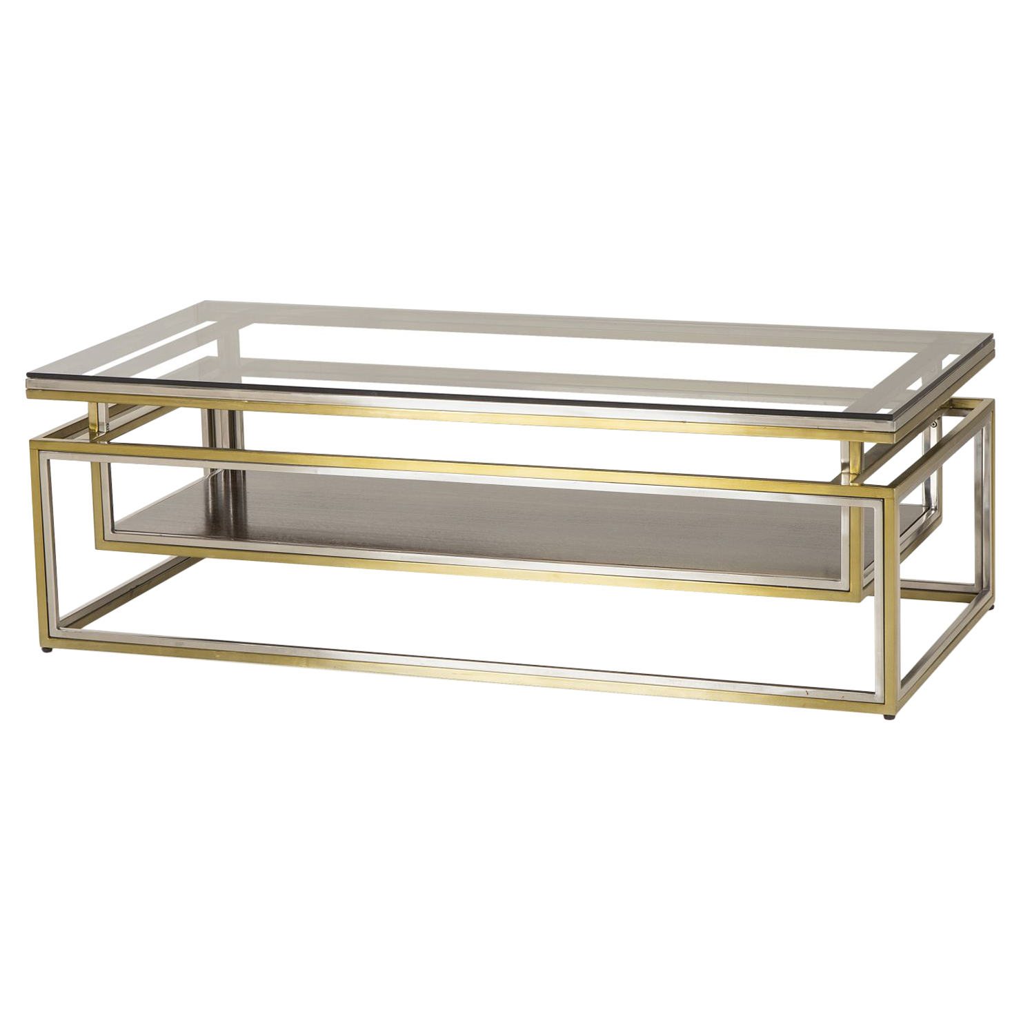 Barden Loft Modern Drop Shelf Steel Brass Coffee Table