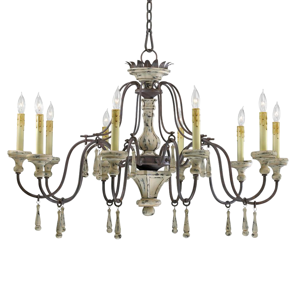 Provence french country white and gray wash 10 light French country chandelier