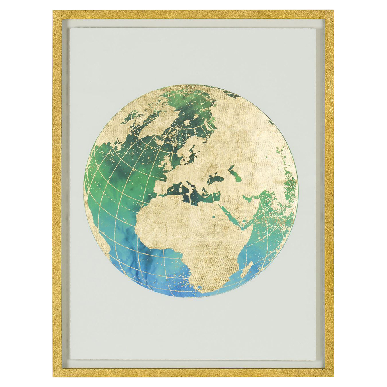 Gilded Gold Green Globe Archival Giclee Print