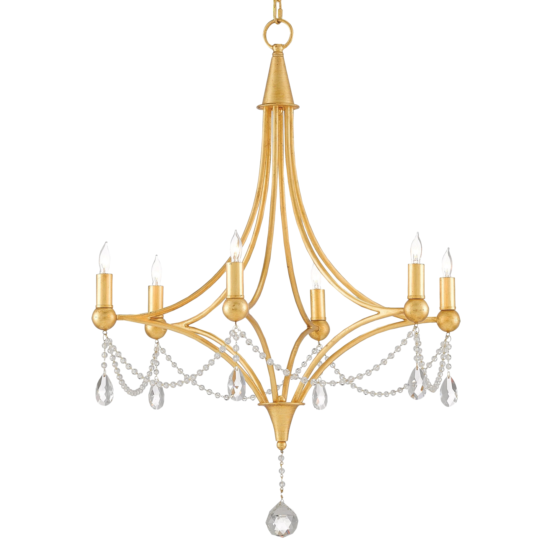 Gracie Regency Antique Gold Glass Bead Chandelier