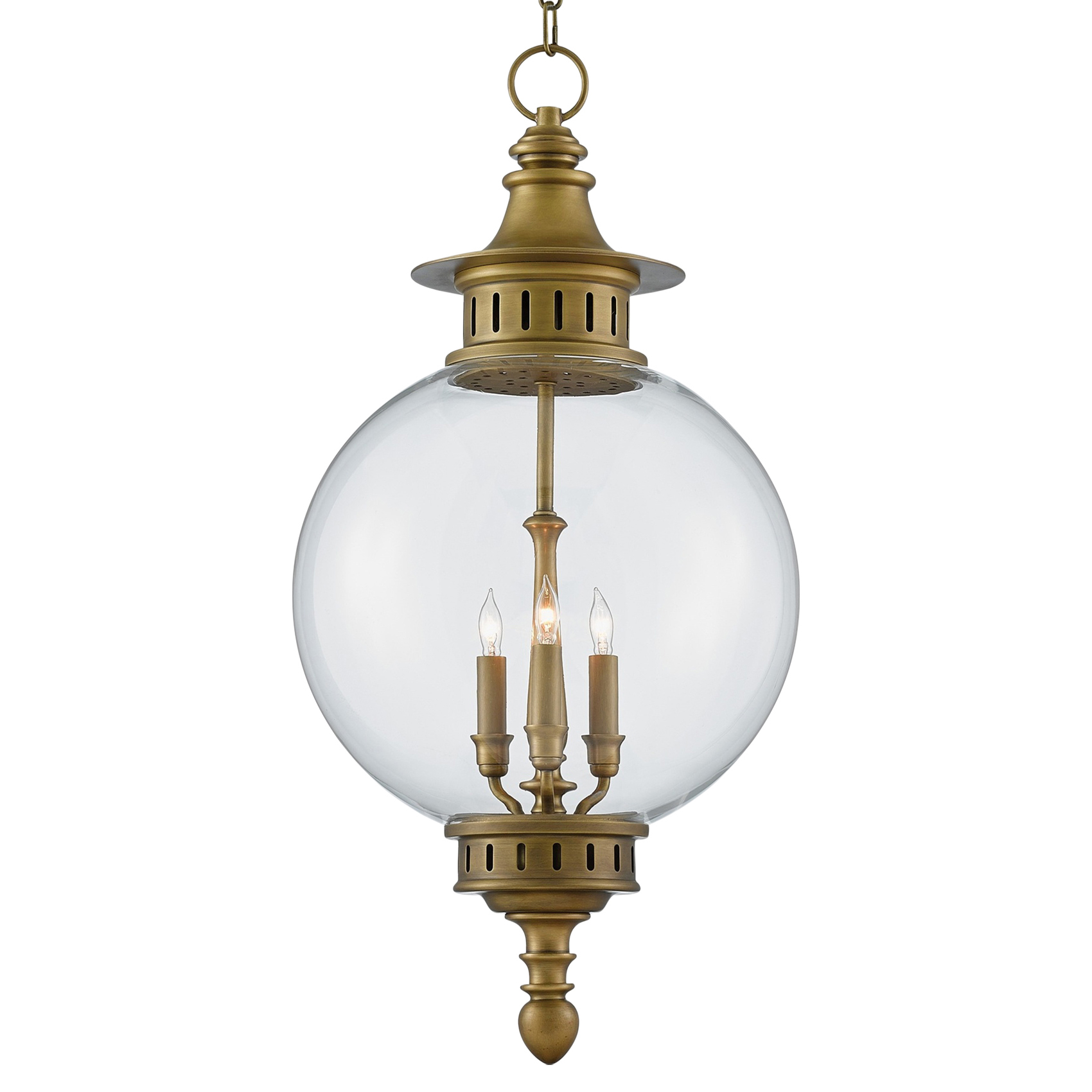 Nautilus Coastal Antique Brass Glass Orb Lantern