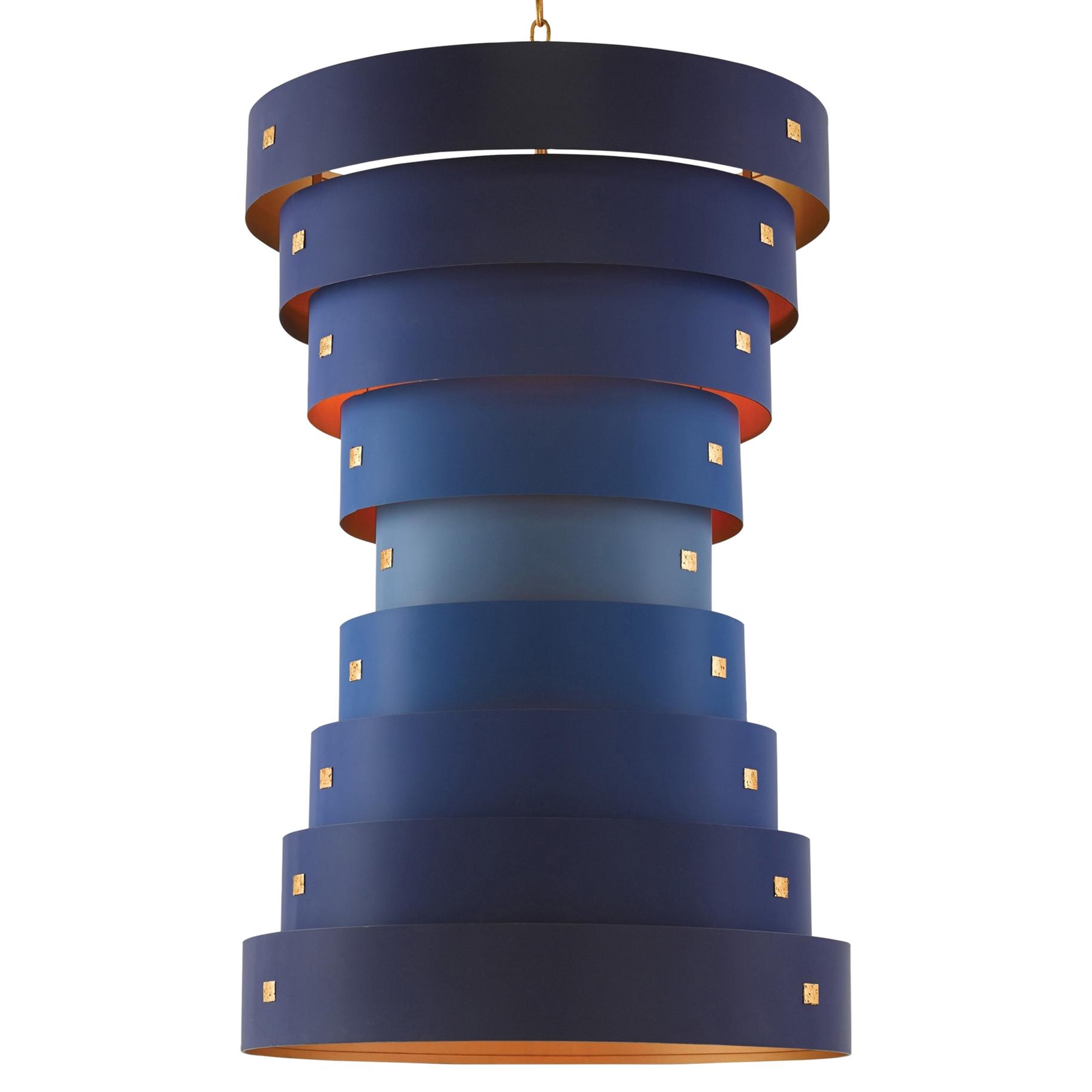 Raku Blue Ombre Modern Classic Ringed Pendant