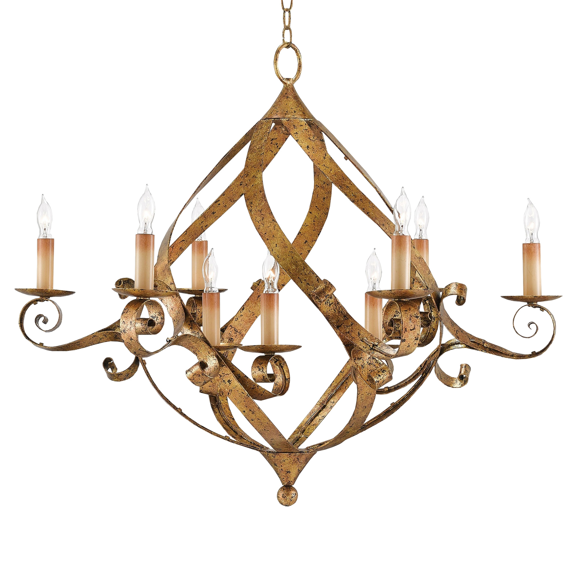 Marcelline French Regency Curved Gold Leaf Chandelier