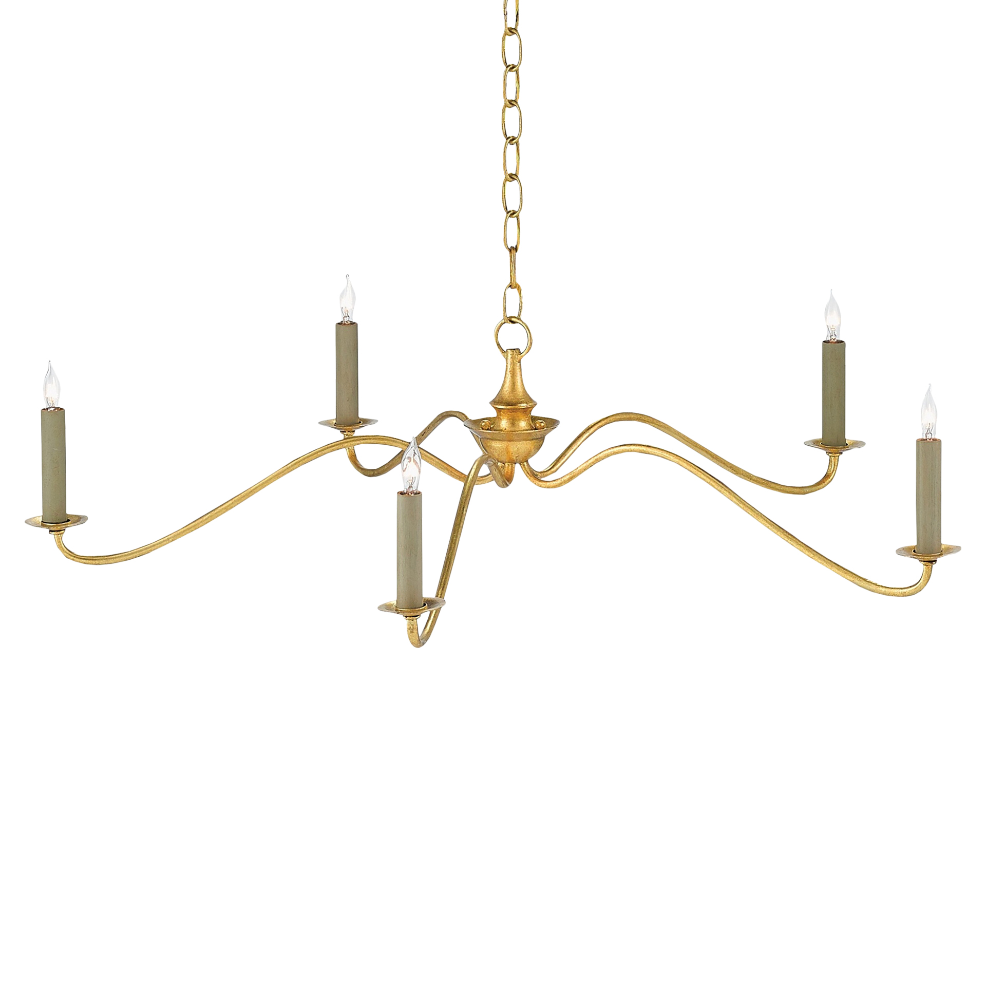 Biarritz French Country Minimal Gold Leaf Chandelier