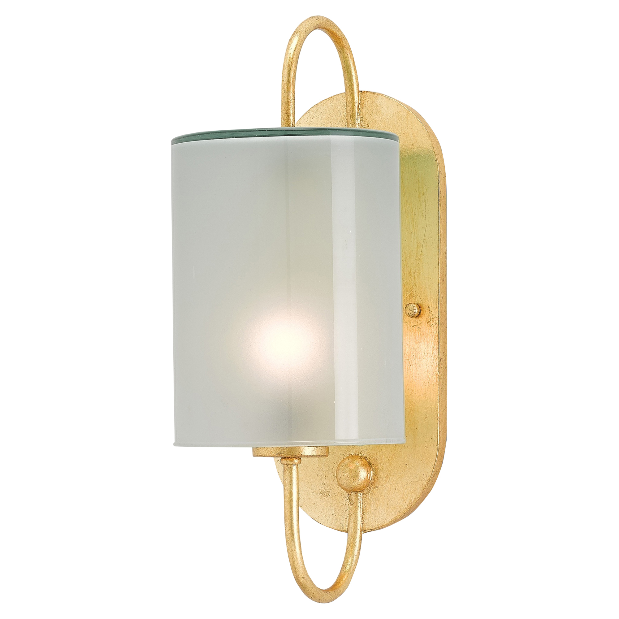 Surrey Gold Leaf Modern Glass Cylinder Sconce
