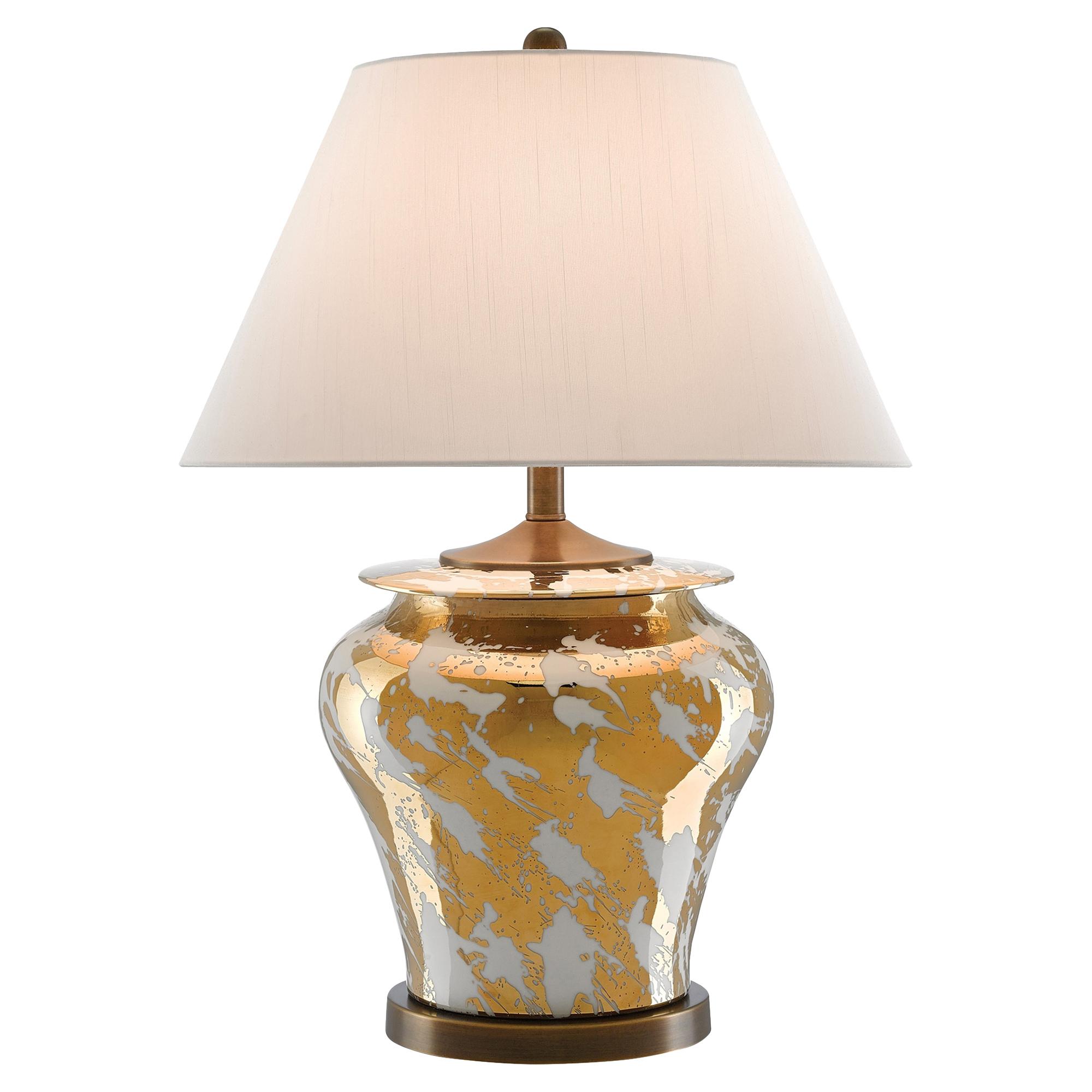 Safire Regency Metallic Gold Glaze White Table Lamp