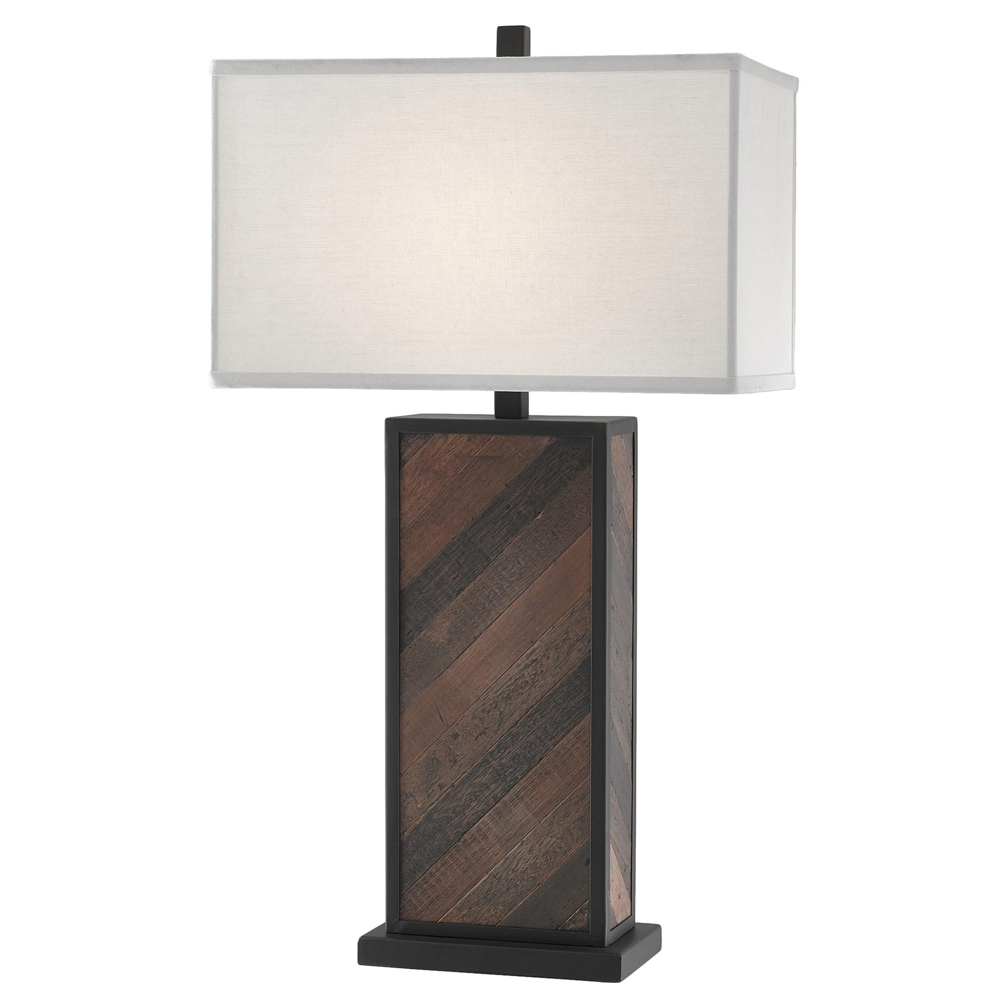 Keelan Rustic Lodge Striped Wood Table Lamp