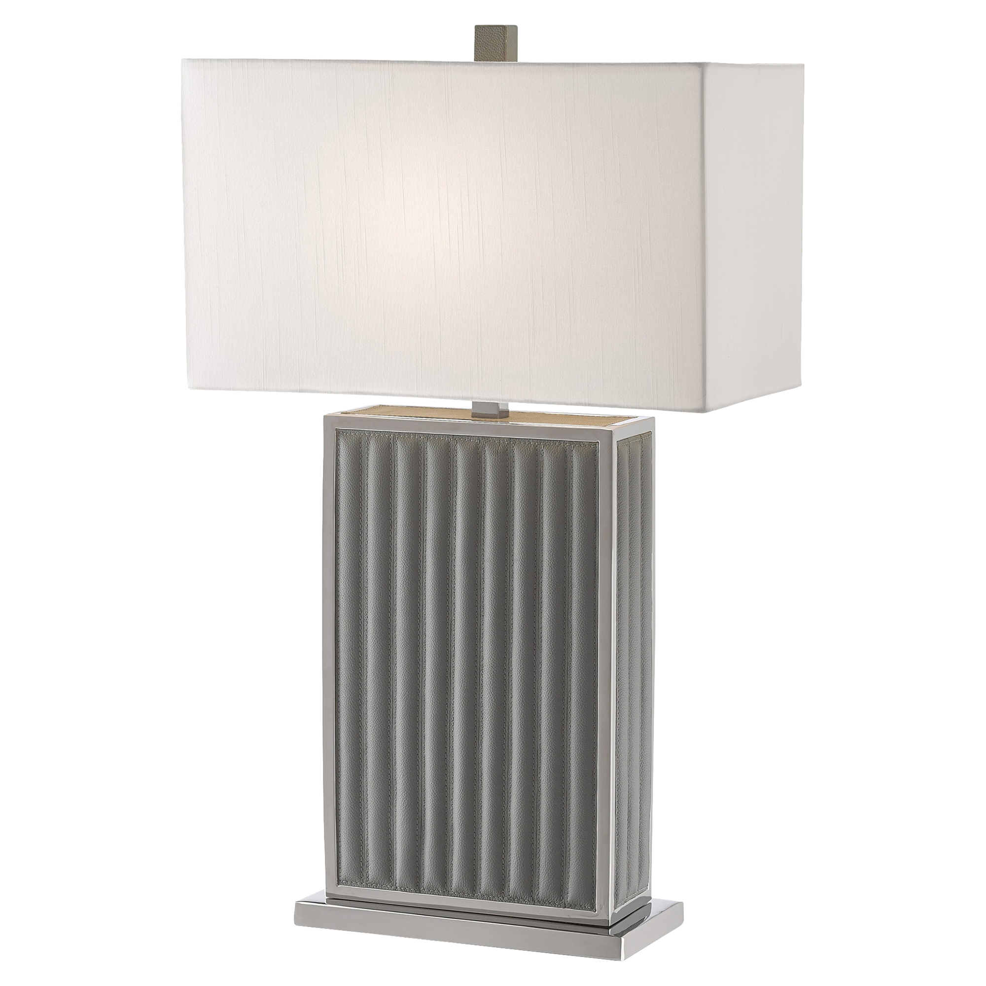 Loft Quilted Leather Grey Column Table Lamp