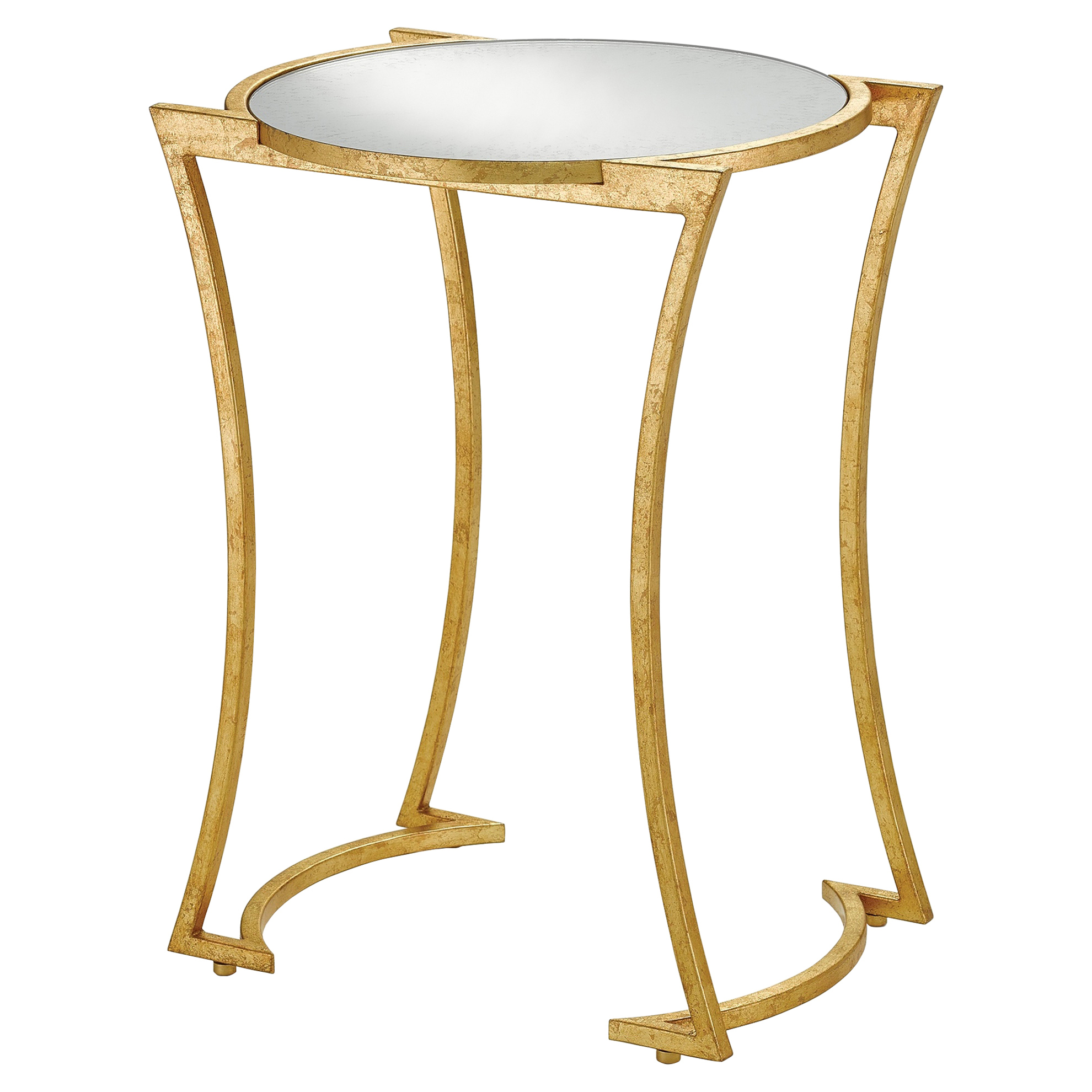 Bette Regency Curved Gold Leaf Mirrored End Table