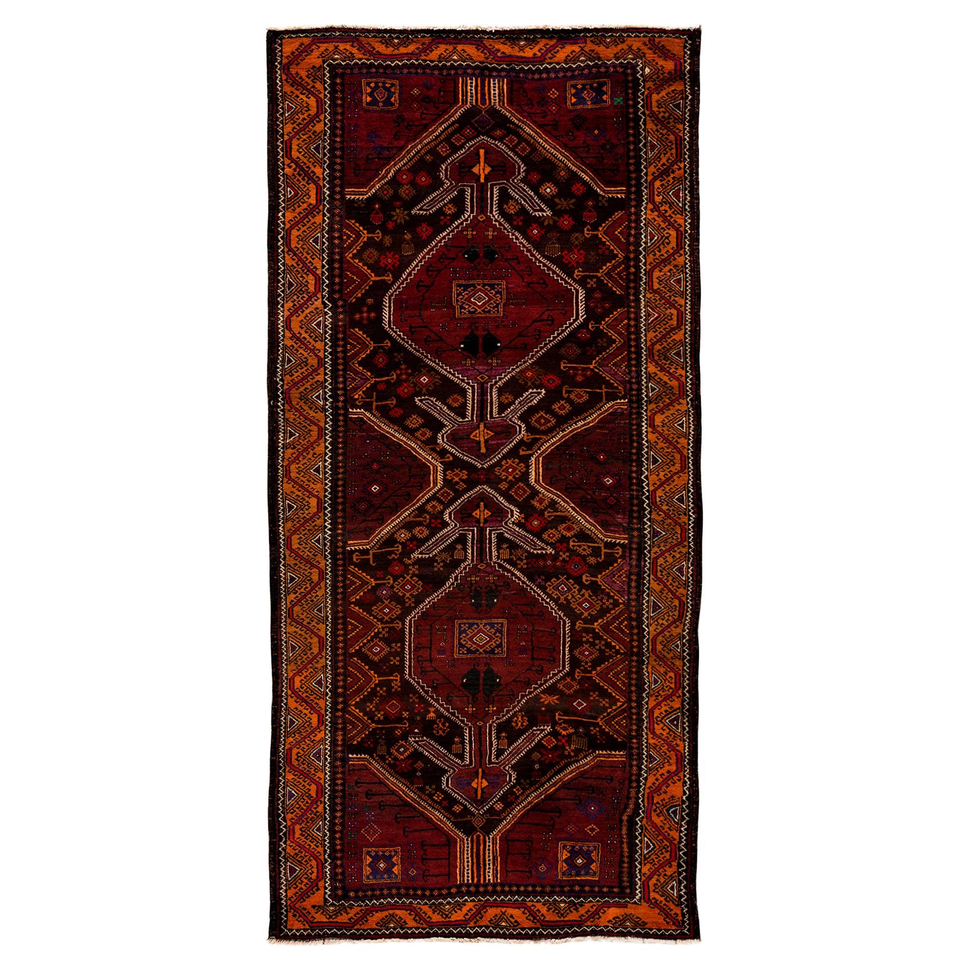 Yula Global Bazaar Burgundy Persian Wool Rug - 4'3 x 9'3