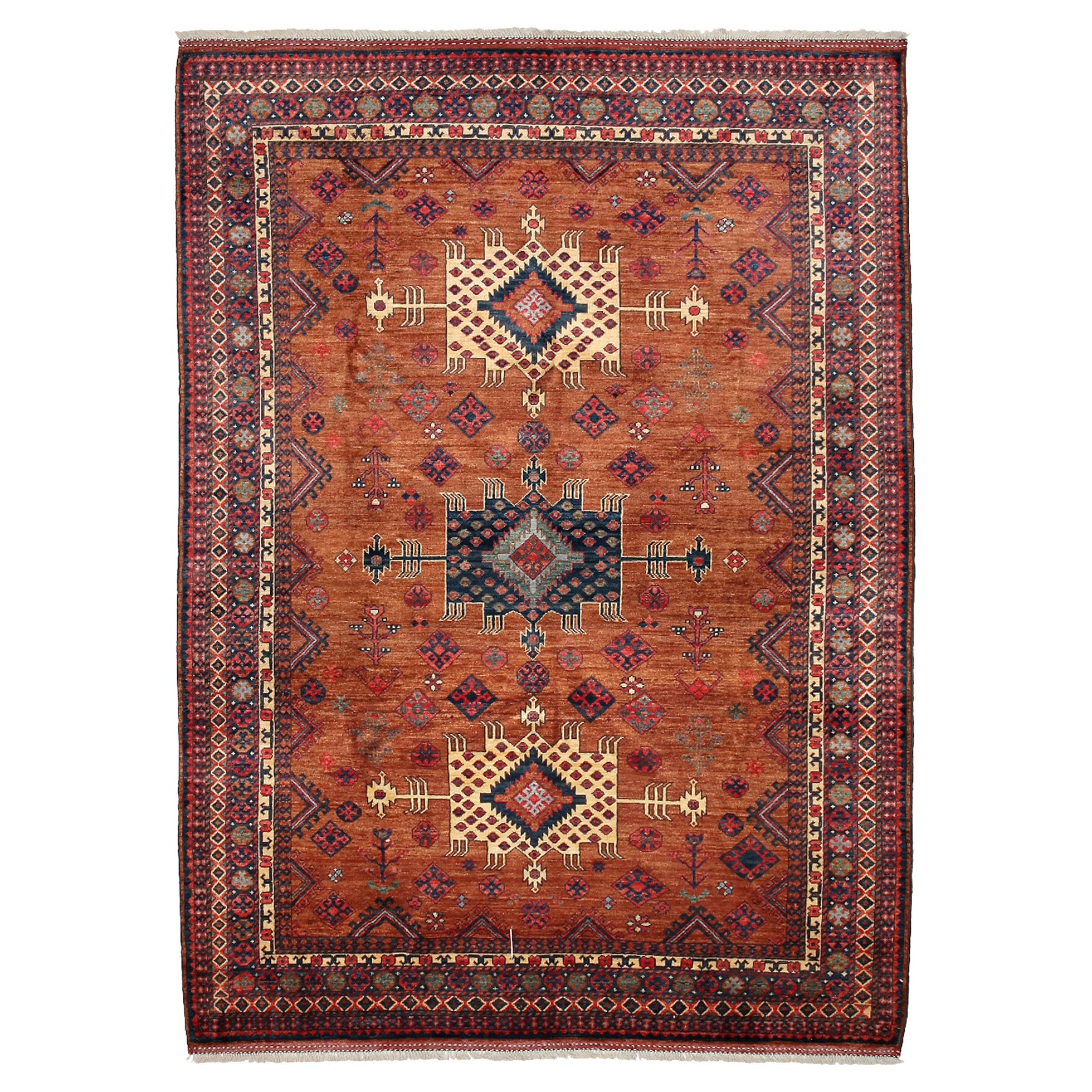 Jove Indian Rust Red Medallion Wool Rug - 6'10 x 10'1