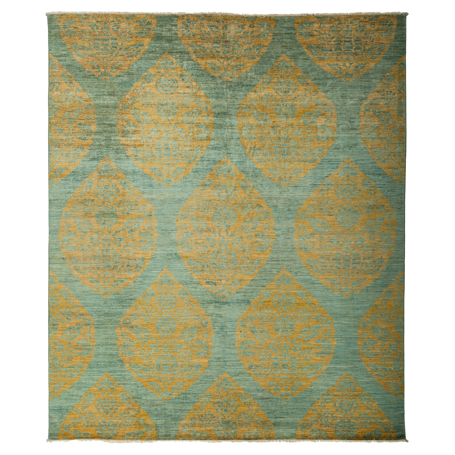 Munro Bazaar Gold Medallion Teal Wool Rug - 8'3 x 9'10