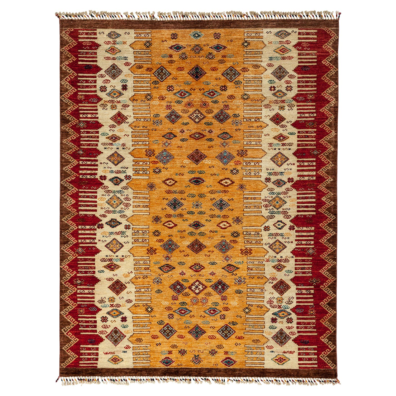 Garcia Lodge Tribal Beige Tassel Wool Rug - 6 x 7'8