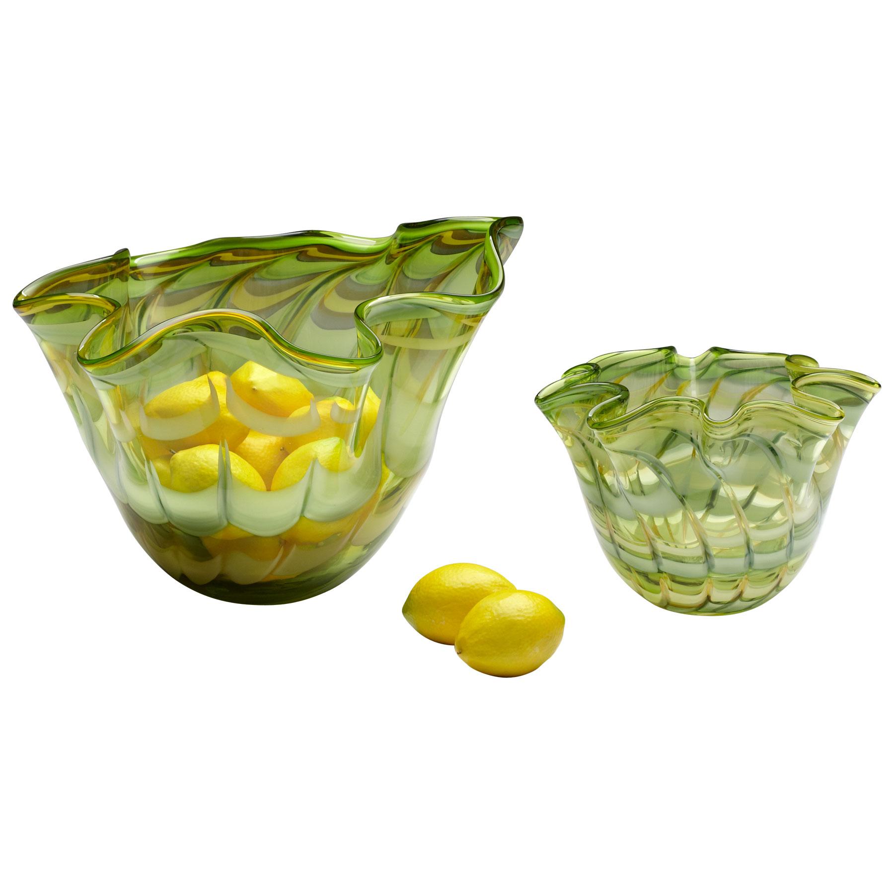 Coastal Beach Light Green Yellow Scalloped Edge Glass Fruit Bowl - 9